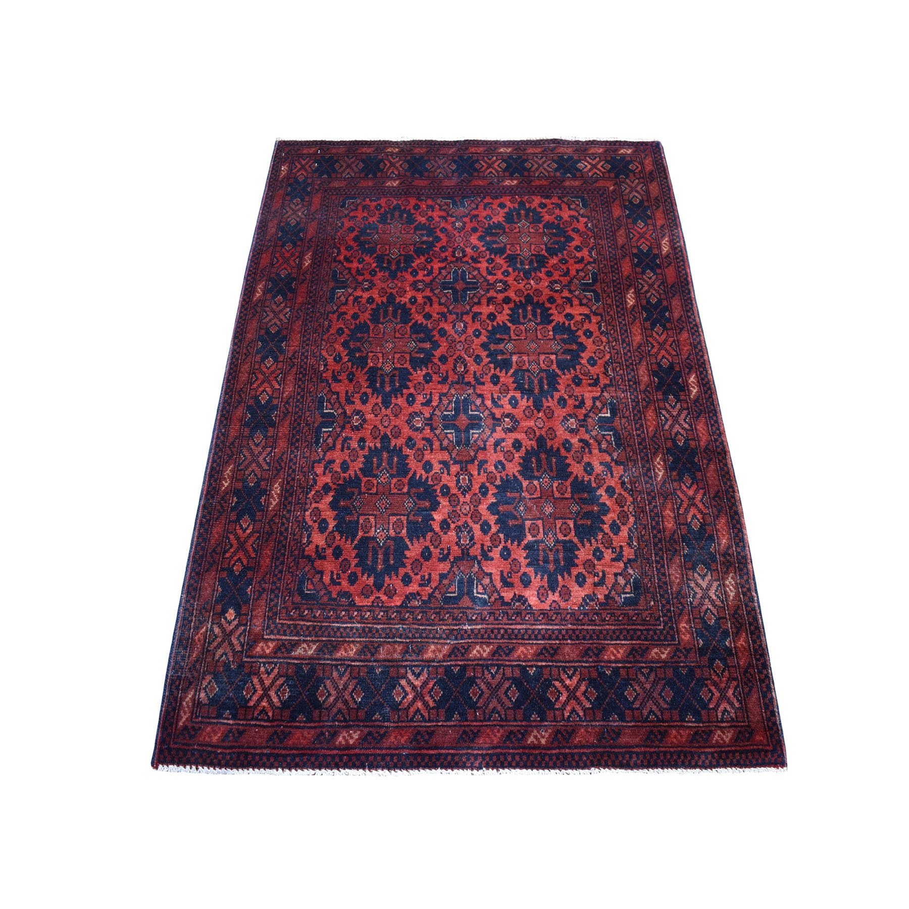 "3'5""x5' Deep and Saturated Red Tribal Afghan Andkhoy Pure Wool Hand Woven Oriental Rug"
