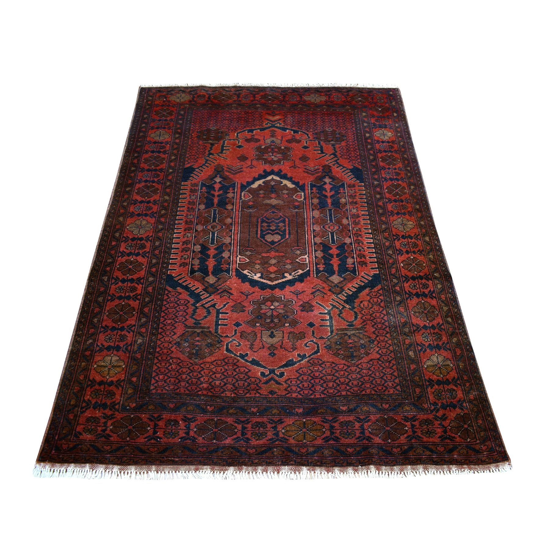 "4'1""x6' Deep and Saturated Red Tribal Afghan Andkhoy Pure Wool Hand Woven Oriental Rug"