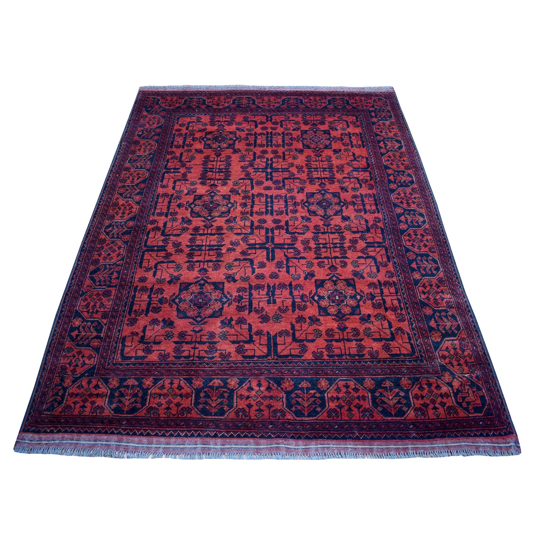 "4'10""x6'6"" Deep and Saturated Red Geometric Afghan Andkhoy Pure Wool Hand Woven Oriental Rug"