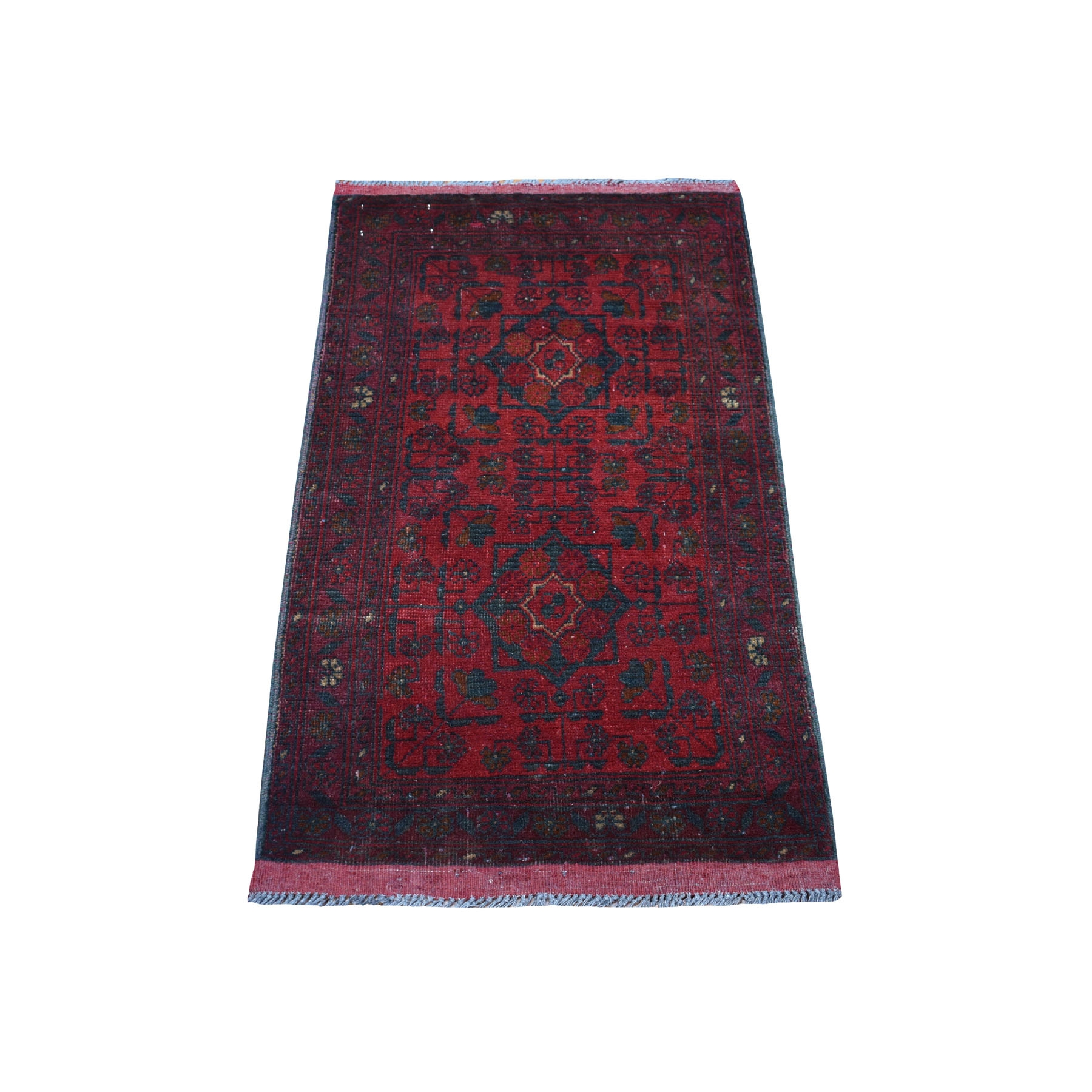 "1'10""x3'4"" Deep and Saturated Red Geometric Afghan Andkhoy Pure Wool Hand Woven Oriental Rug"
