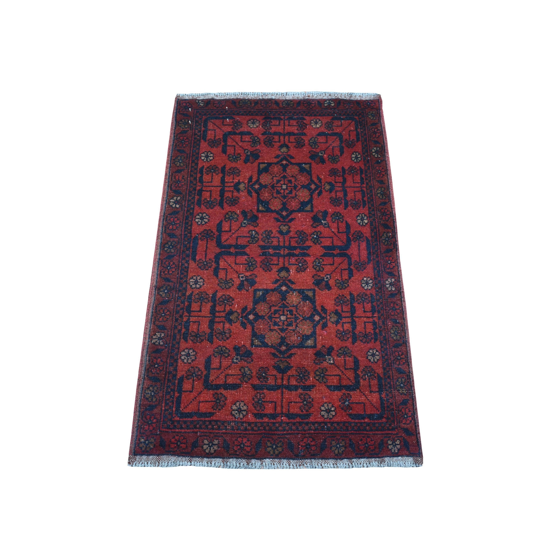 "1'8""x3'3"" Deep and Saturated Red Tribal Afghan Andkhoy Pure Wool Hand Woven Oriental Rug"