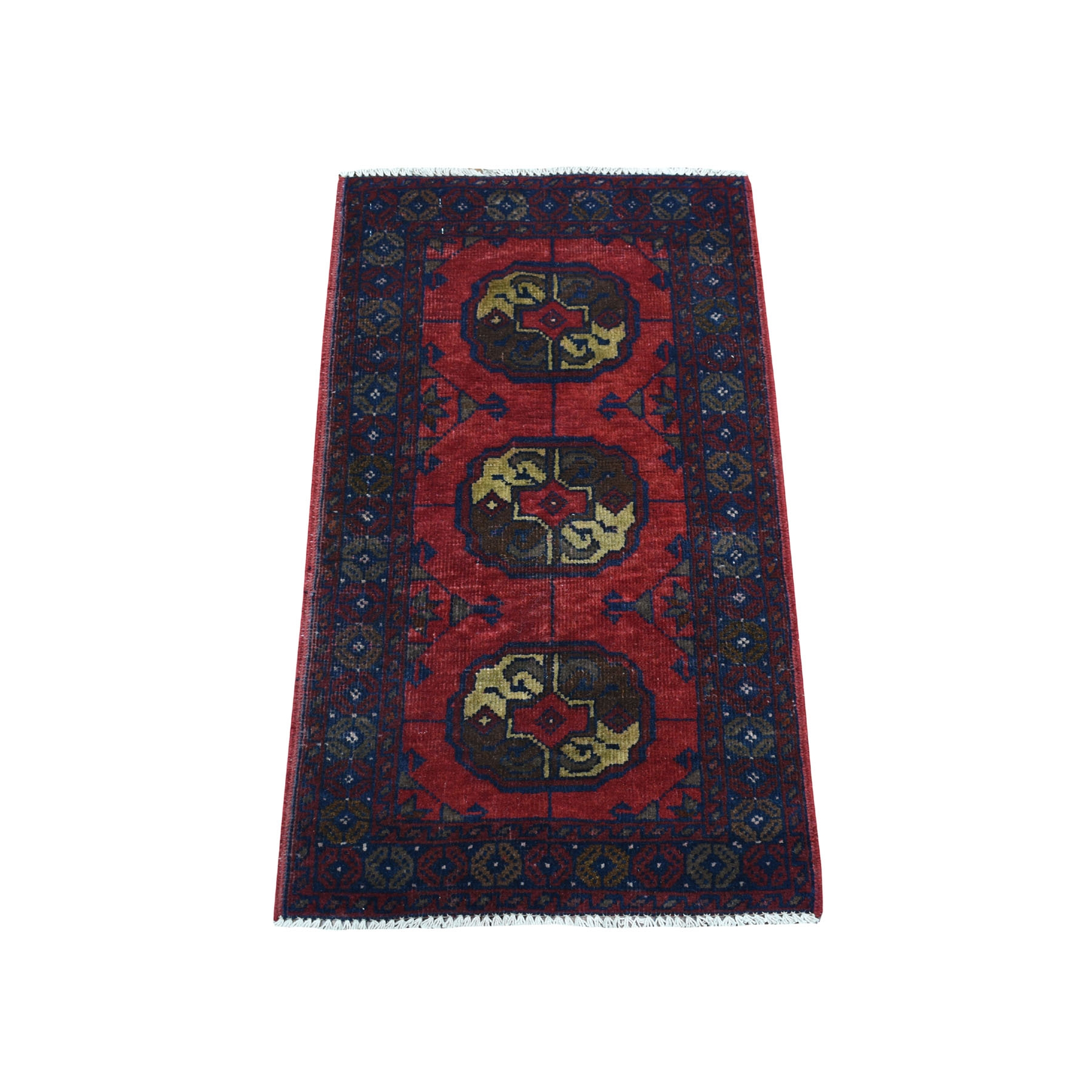 "1'8""x3'2"" Deep and Saturated Red Elephant Feet Afghan Andkhoy Pure Wool Hand Woven Oriental Rug"