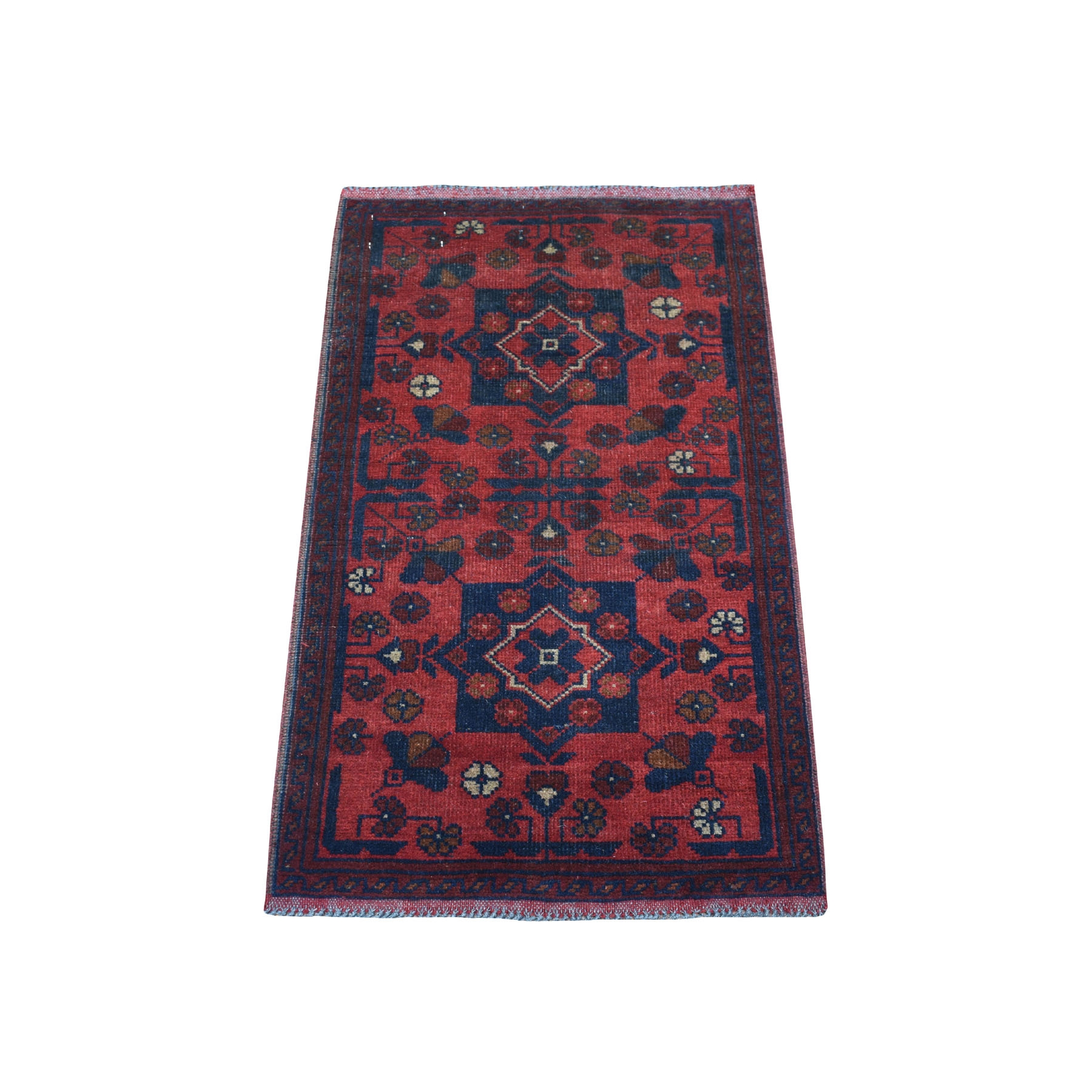 "1'9""x3'2"" Deep and Saturated Red Tribal Afghan Andkhoy Pure Wool Hand Woven Oriental Rug"