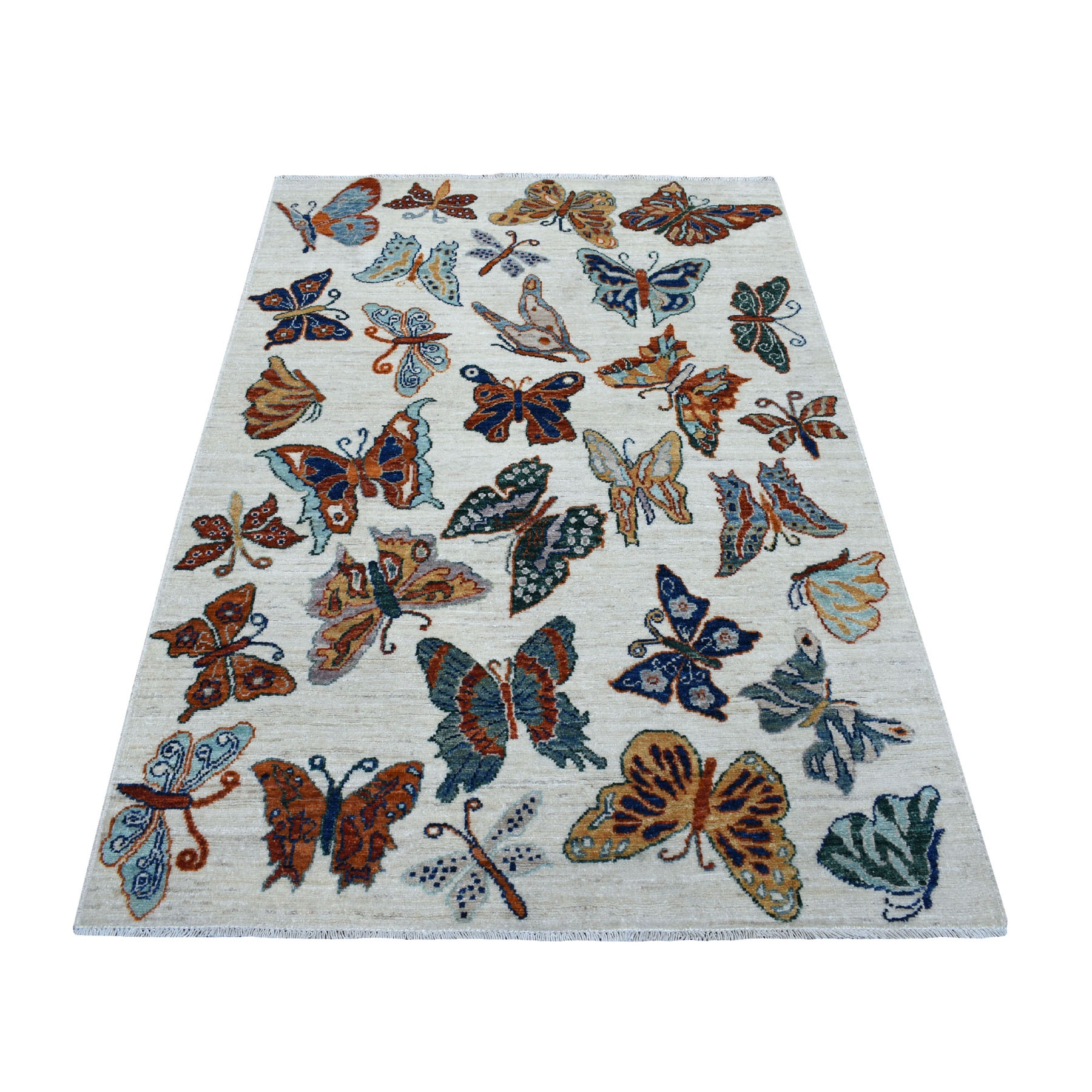 4'x6' The Colorful Butterflies Peshawar Pure wool Hand Woven Oriental Rug