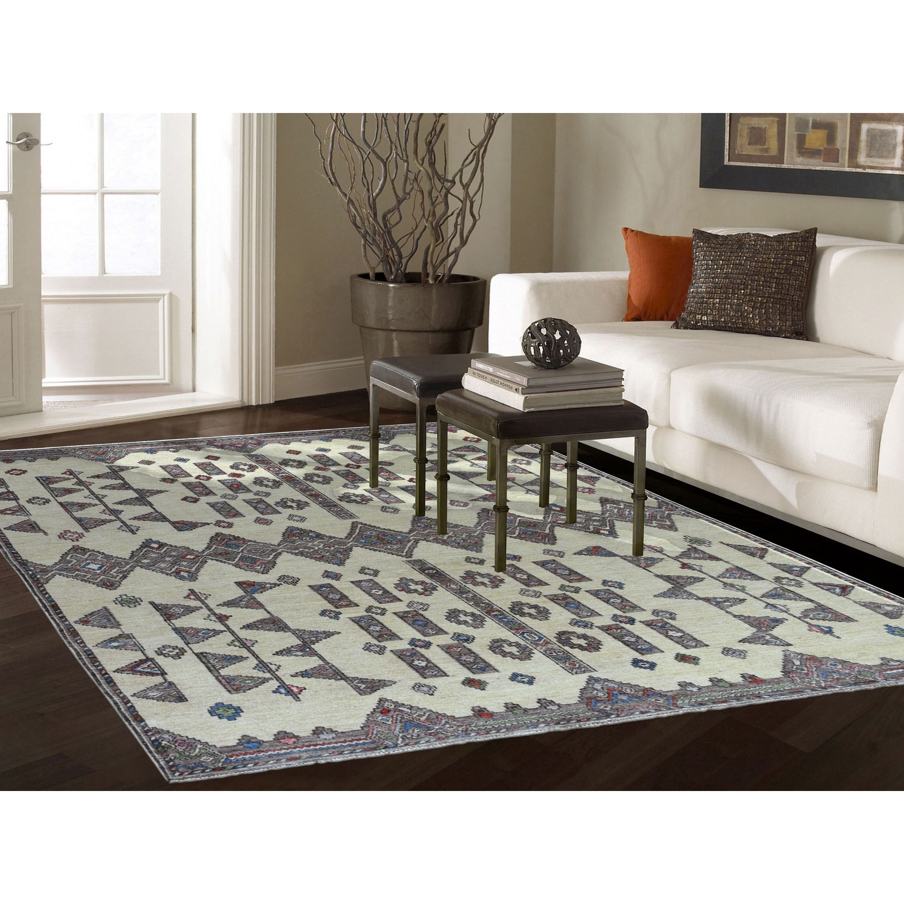 6'x9' Ivory Peshawar With Berber Motifs Inspired With pop Of Color Pure Wool Oriental Rug