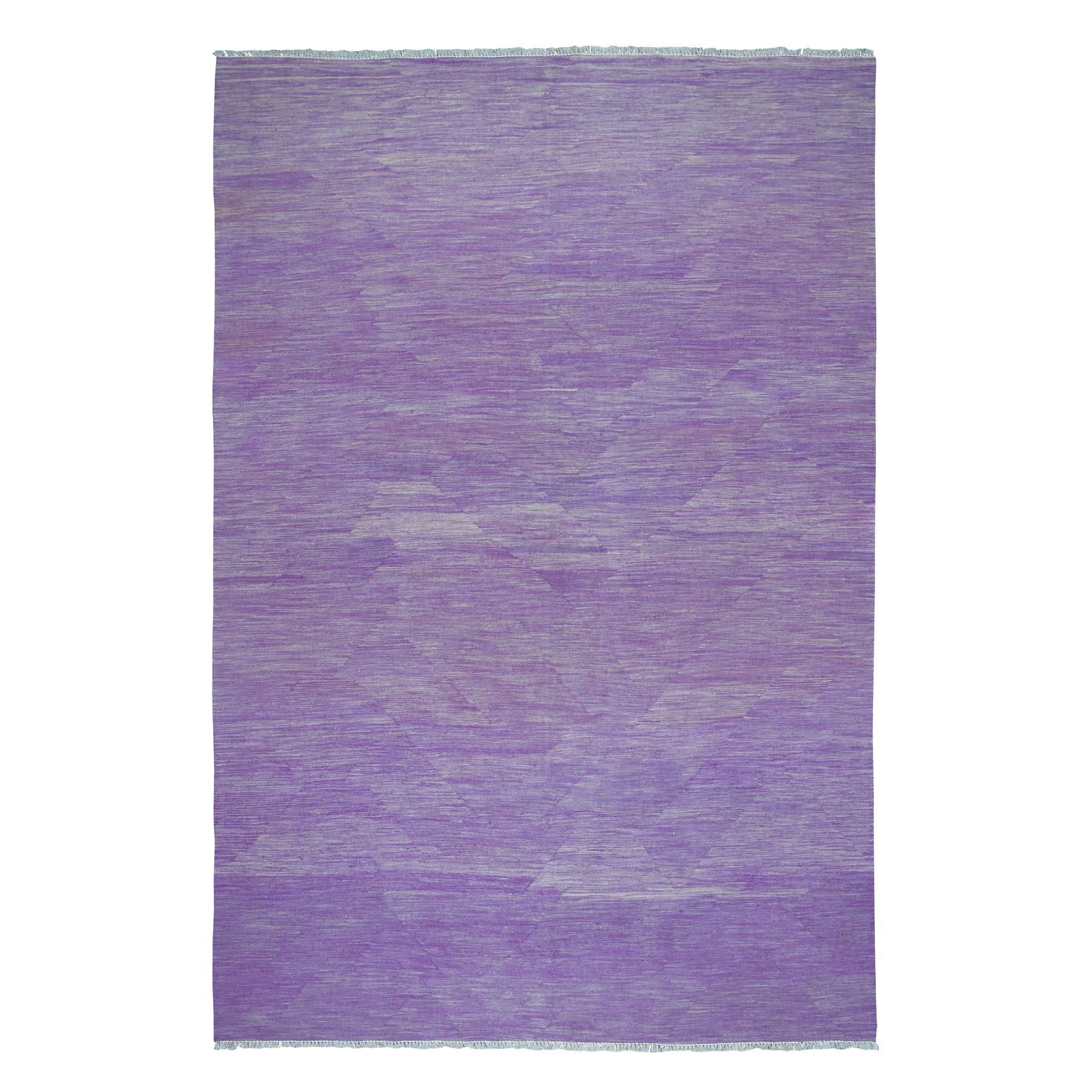 "6'8""x9'8"" Lavender Shades Flat Weave Kilim Pure Wool Hand Woven Oriental Rug"