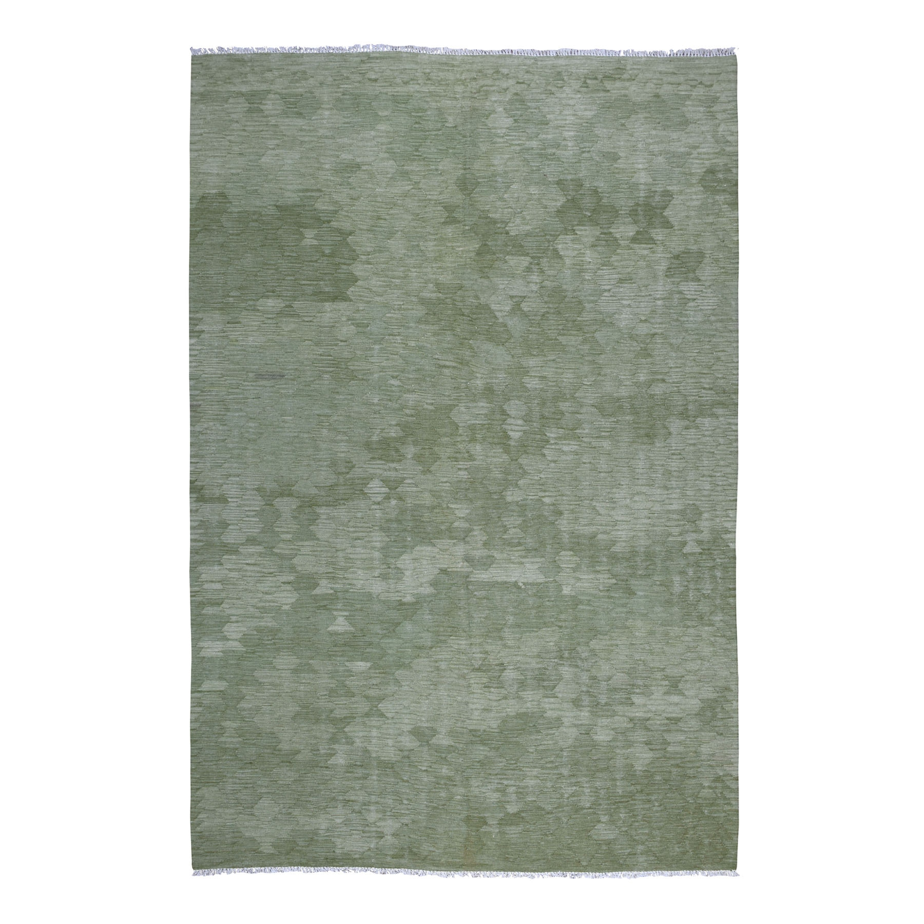 "6'9""x9'10"" Gray Green Shades Flat Weave Kilim Pure Wool Hand Woven Oriental Rug"