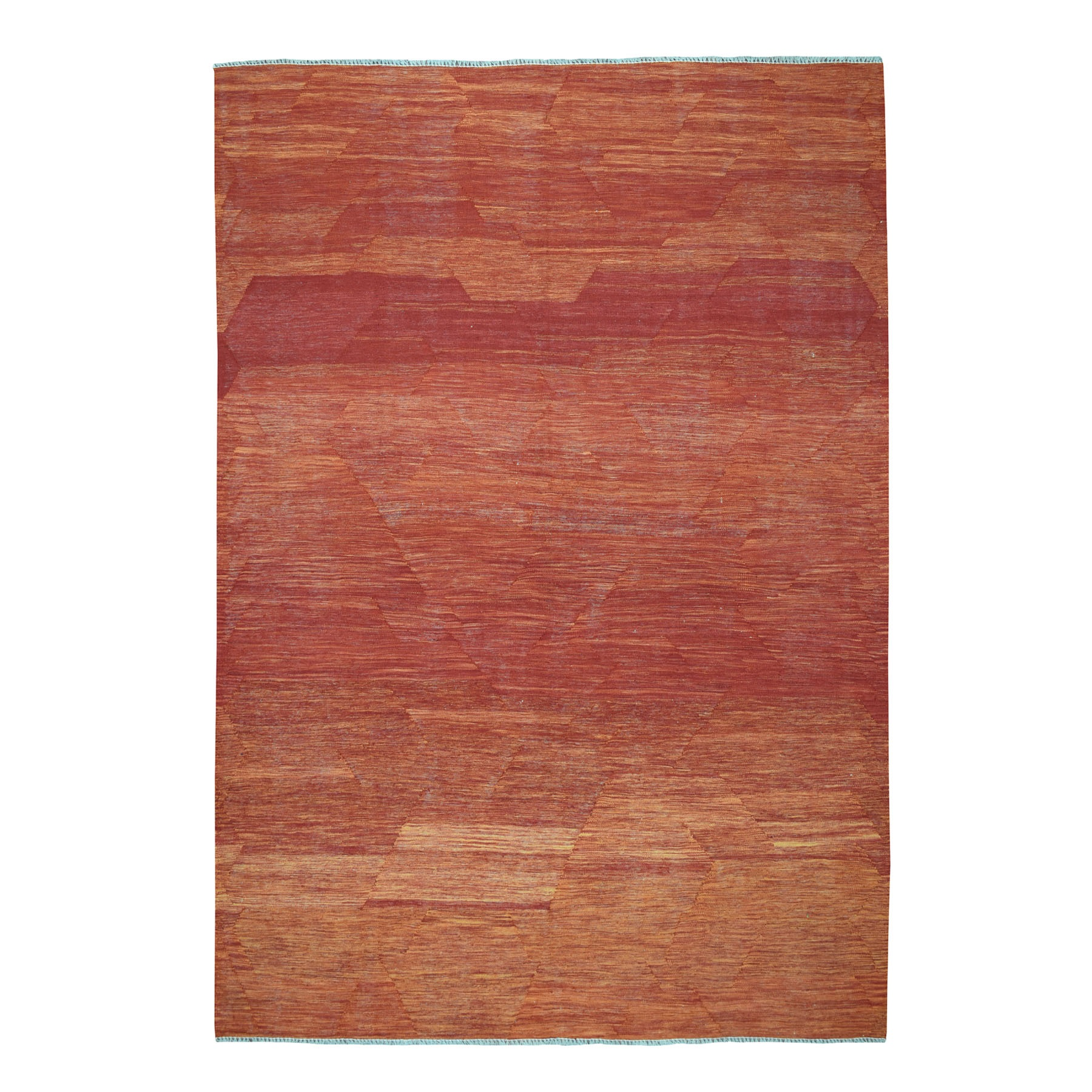 "6'8""x9'10"" Sunset Shades Reversible Kilim Pure Wool Hand Woven Oriental Rug"
