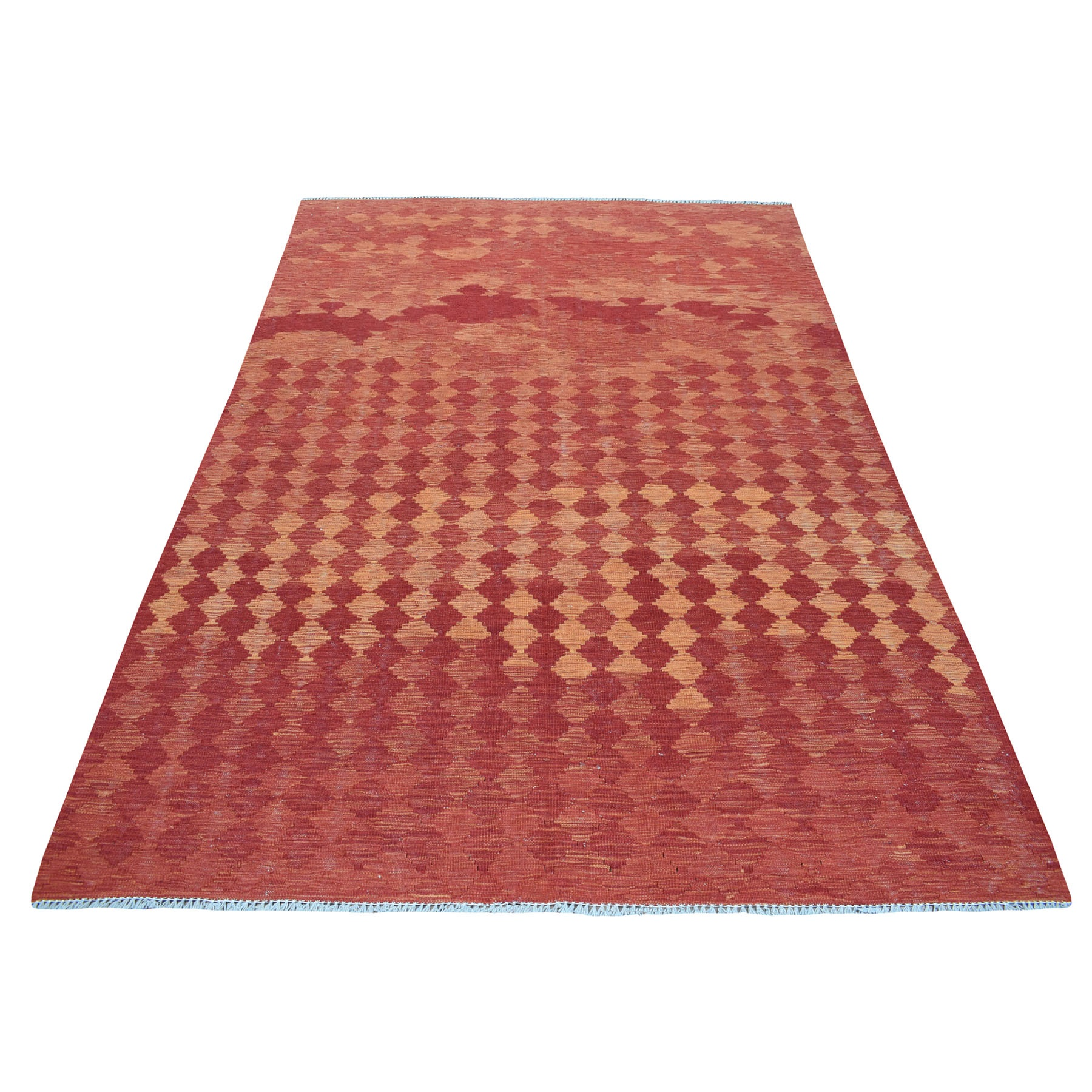 "5'5""x8'2"" Sunset Shades Reversible Kilim Pure Wool Hand Woven Oriental Rug"