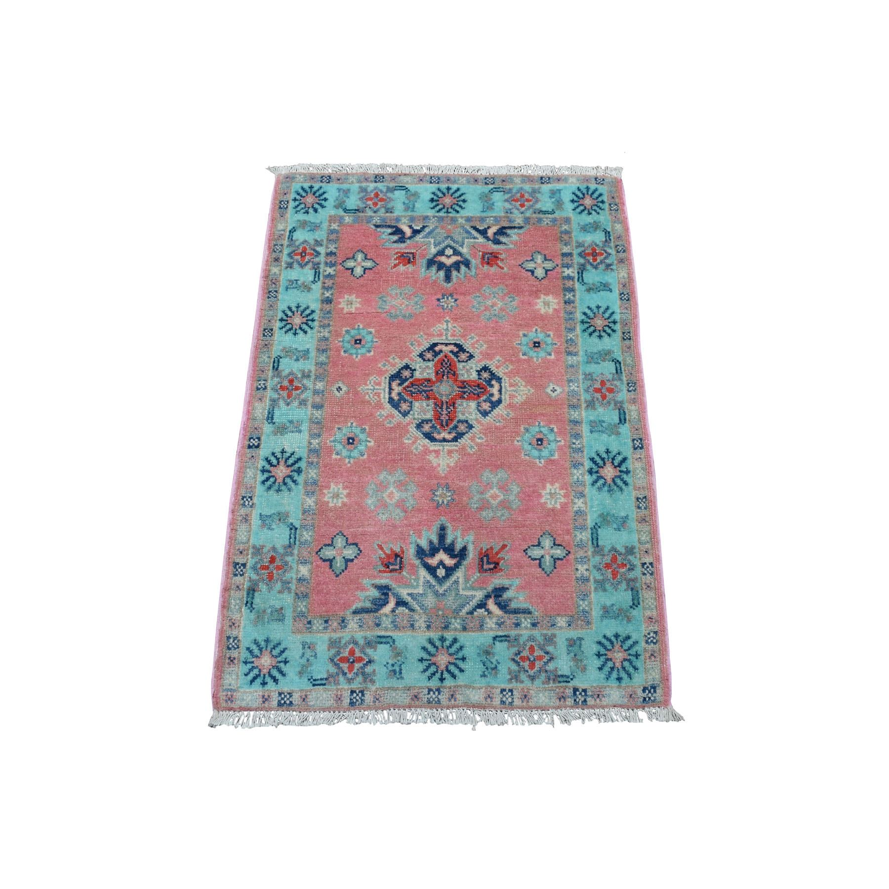 "2'1""x3' Colorful Pink Fusion Kazak Pure Wool Geometric Design Hand Woven Oriental Rug"