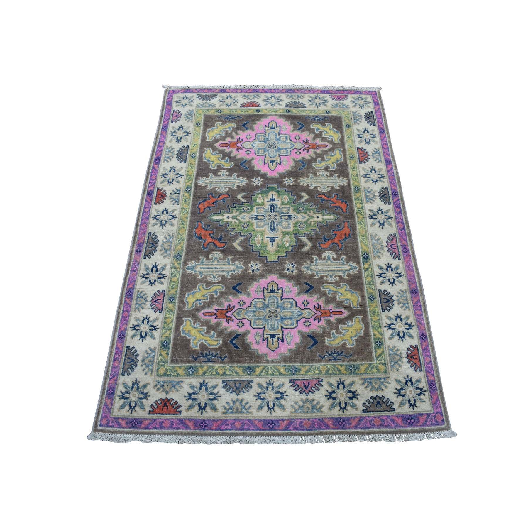 "3'3""x5' Colorful Gray Fusion Kazak Pure Wool Hand Woven Oriental Rug"