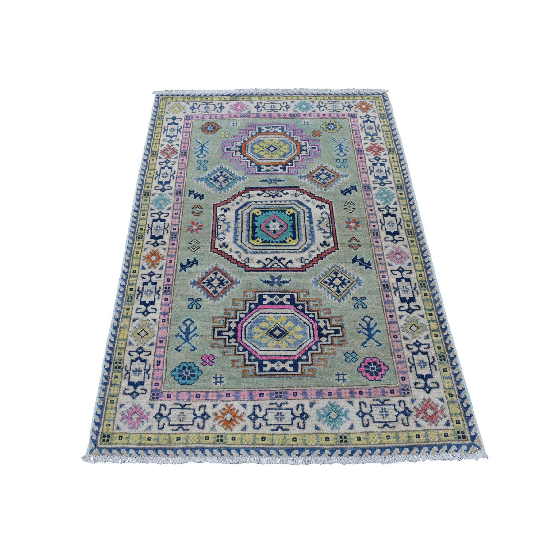 "3'3""x5' Colorful Gray Fusion Kazak Pure Wool Geometric Design Hand Woven Oriental Rug"