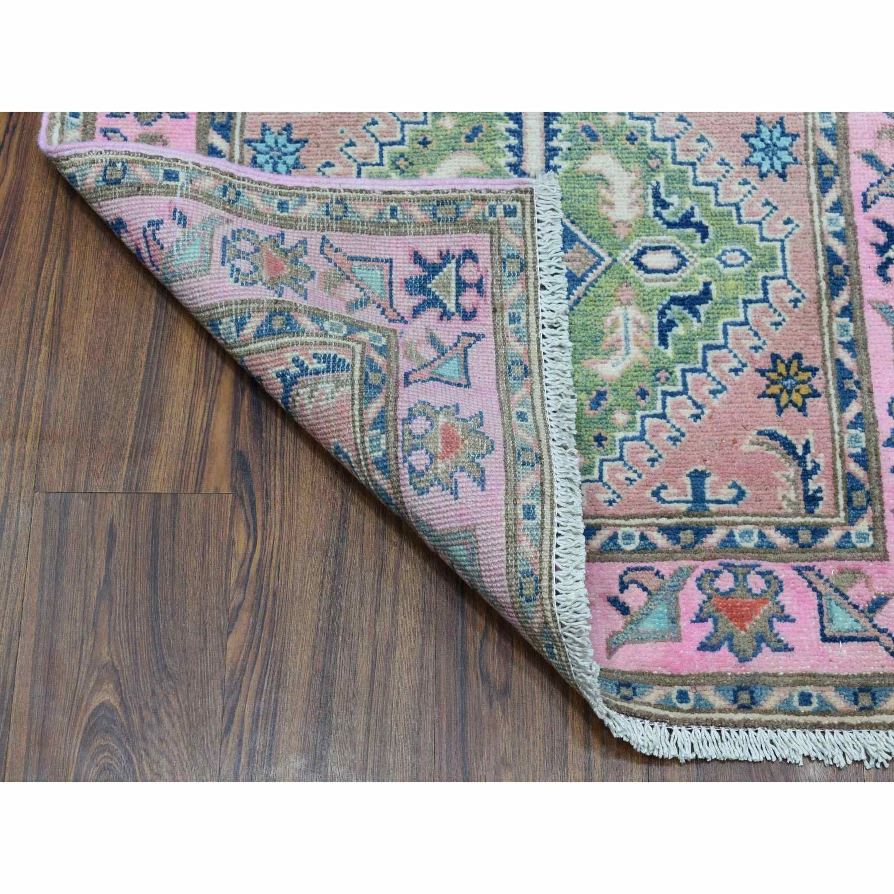 "2'6""x7'8"" Colorful Pink Fusion Kazak Pure Wool Geometric Design Runner Hand Woven Oriental Rug"