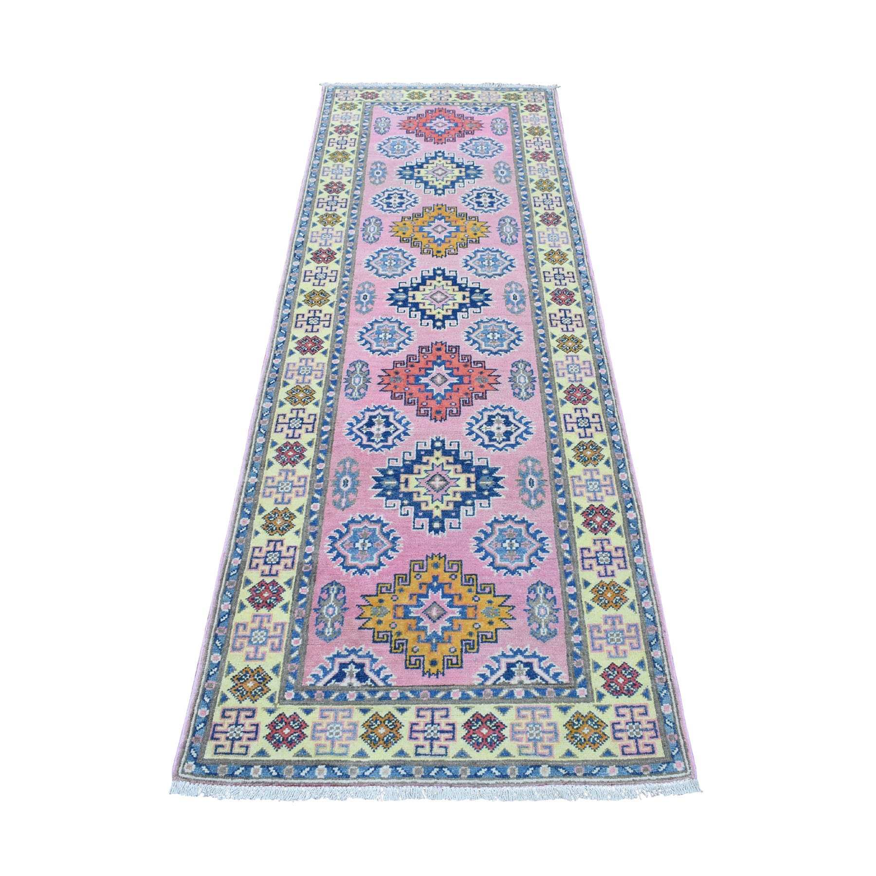 "2'7""x8' Colorful Pink Fusion Kazak Pure Wool Geometric Design Runner Hand Woven Oriental Rug"