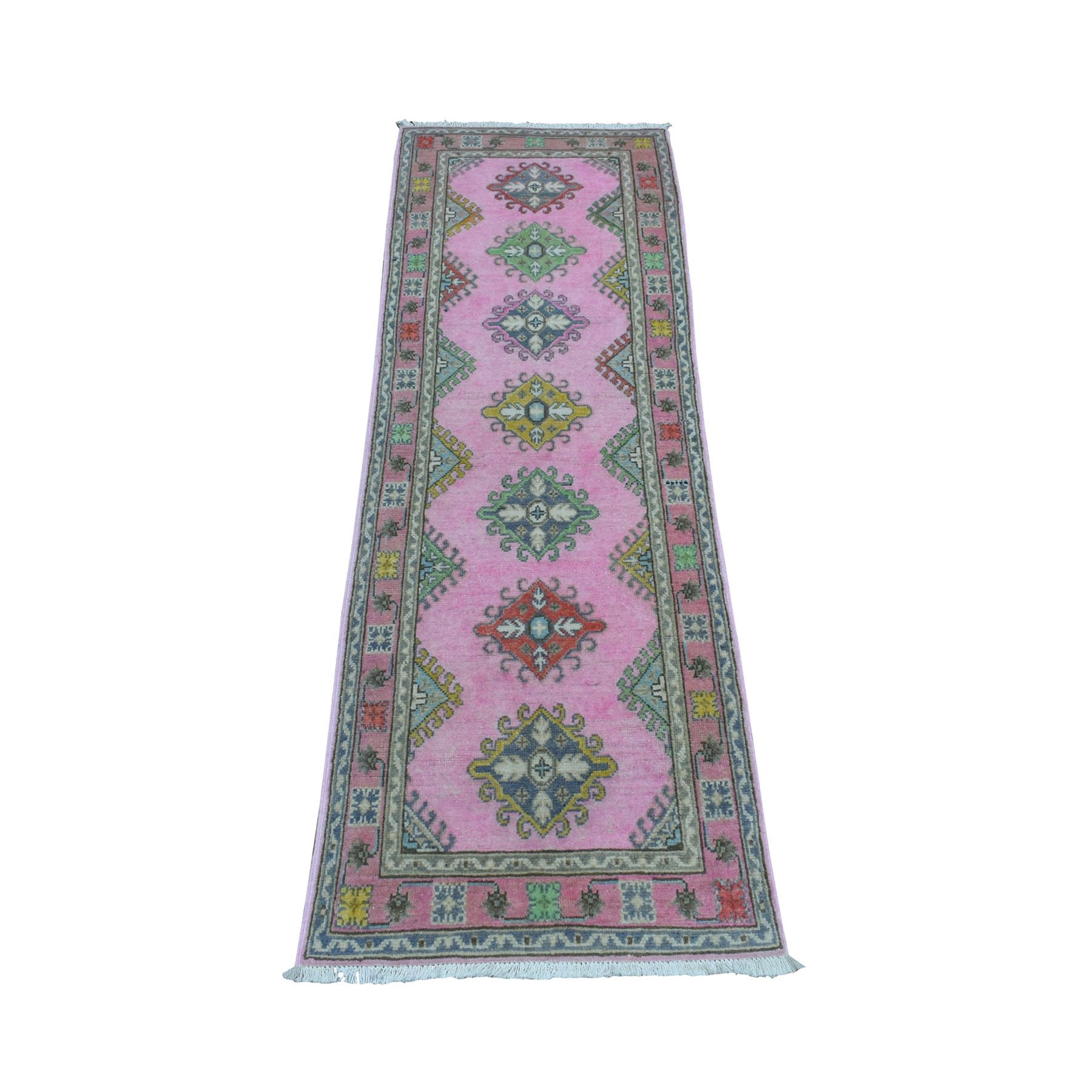 "2'x6'1"" Colorful Pink Fusion Kazak Pure Wool Geometric Design Runner Hand Woven Oriental Rug"