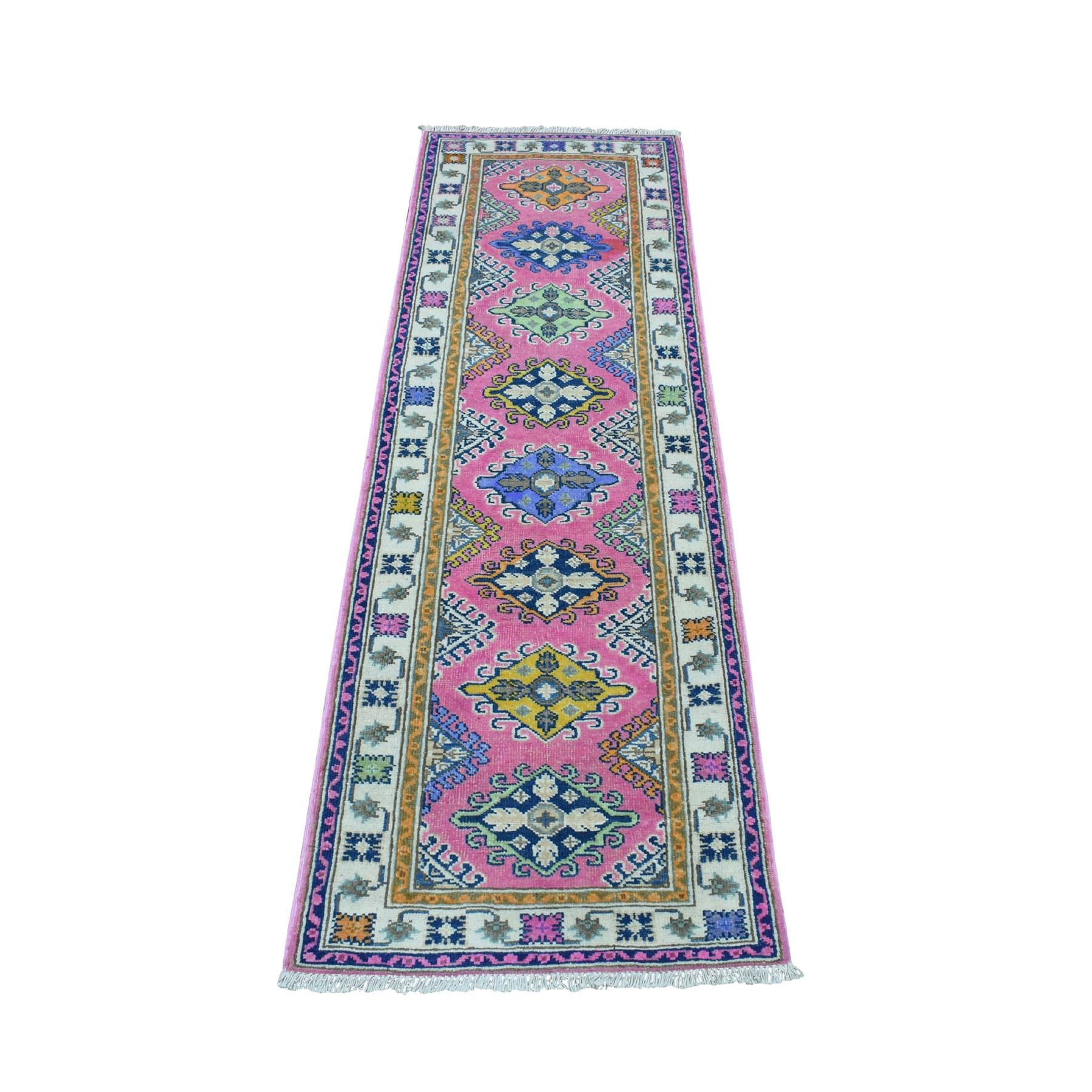 "2'x6'4"" Colorful Pink Fusion Kazak Pure Wool Geometric Design Runner Hand Woven Oriental Rug"