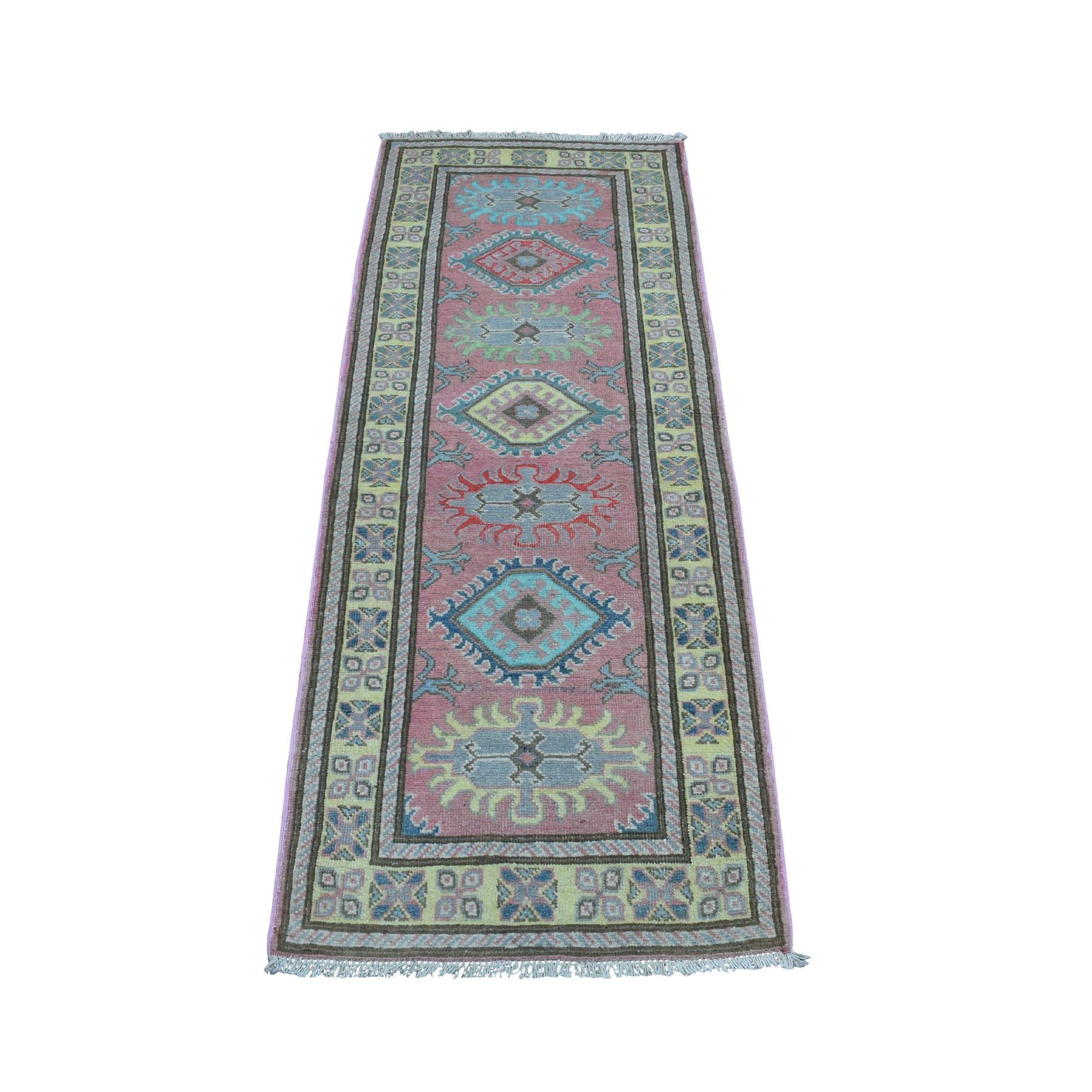 "2'1""x5'5""  Colorful Pink Fusion Kazak Pure Wool Geometric Design Runner Hand Woven Oriental Rug"