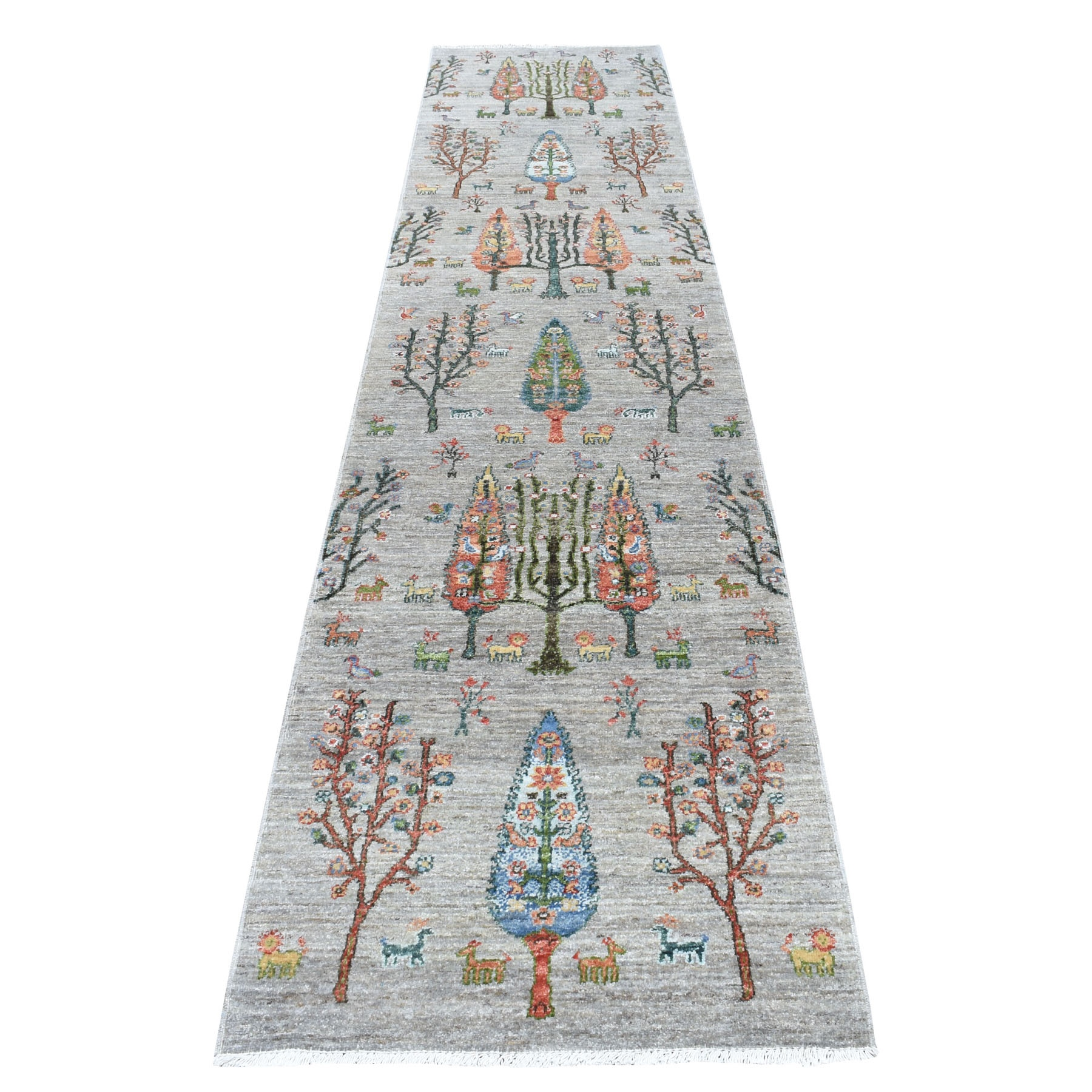 "2'7""x11'6"" Folk Art Willow And Cypress Tree Design Peshawar With Pop Of Color Runner Hand Woven Oriental Rug"