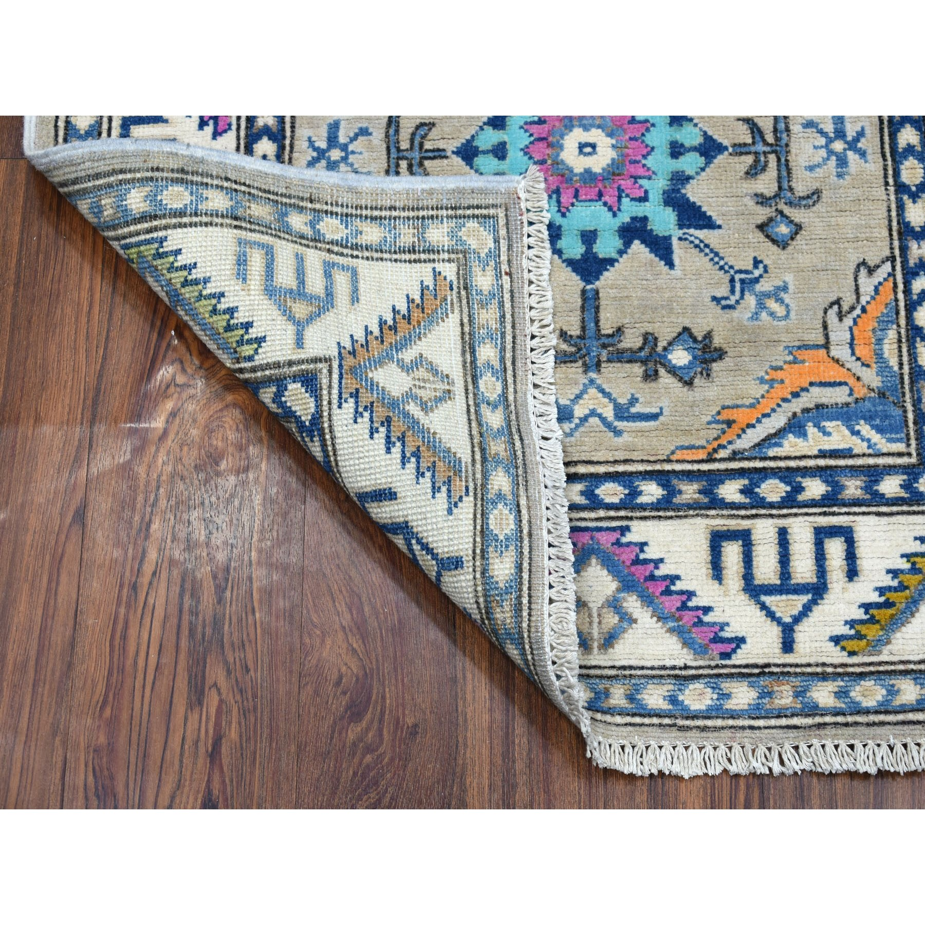 "2'8""x5'9"" Colorful Gray Fusion Kazak Pure Wool Hand Woven Runner Oriental Rug"