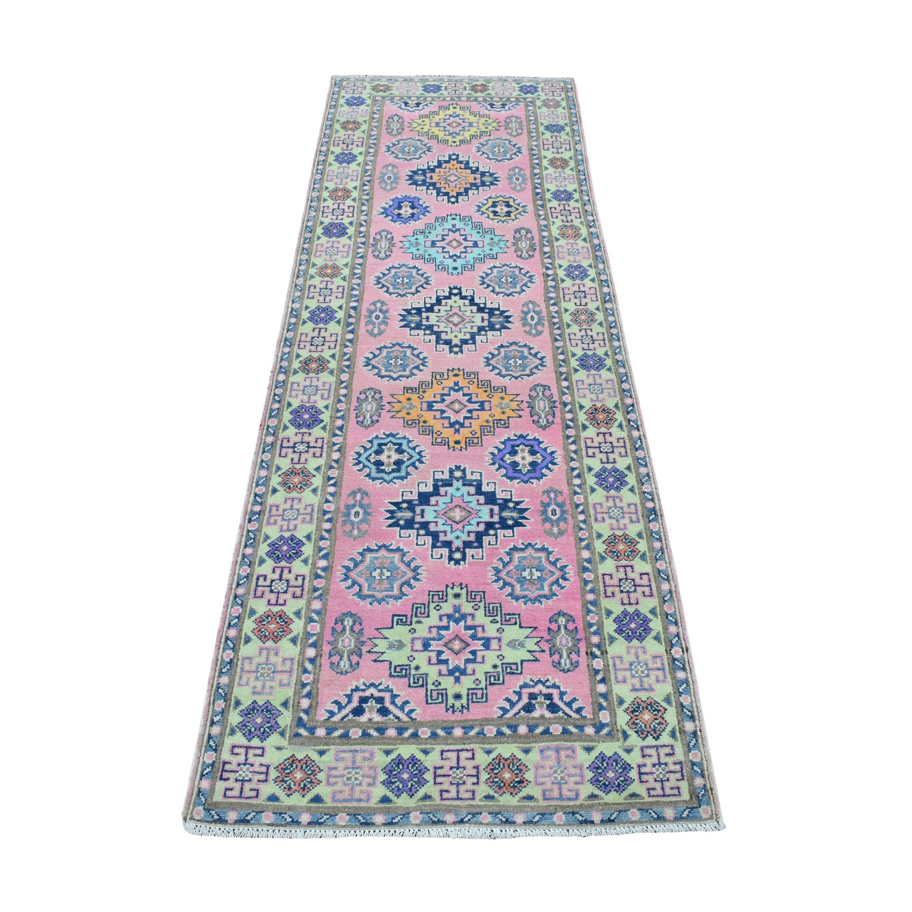 "2'6""x8' Colorful Pink Fusion Kazak Pure Wool Geometric Design Runner Hand Woven Oriental Rug"