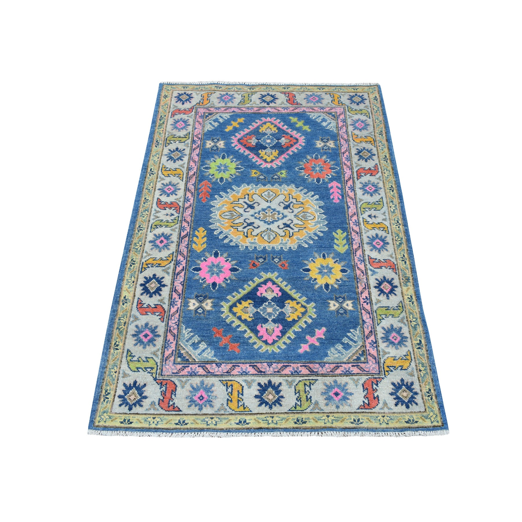 "3'3""x5' Colorful Blue Fusion Kazak Pure Wool Geometric Design Hand Woven Oriental Rug"