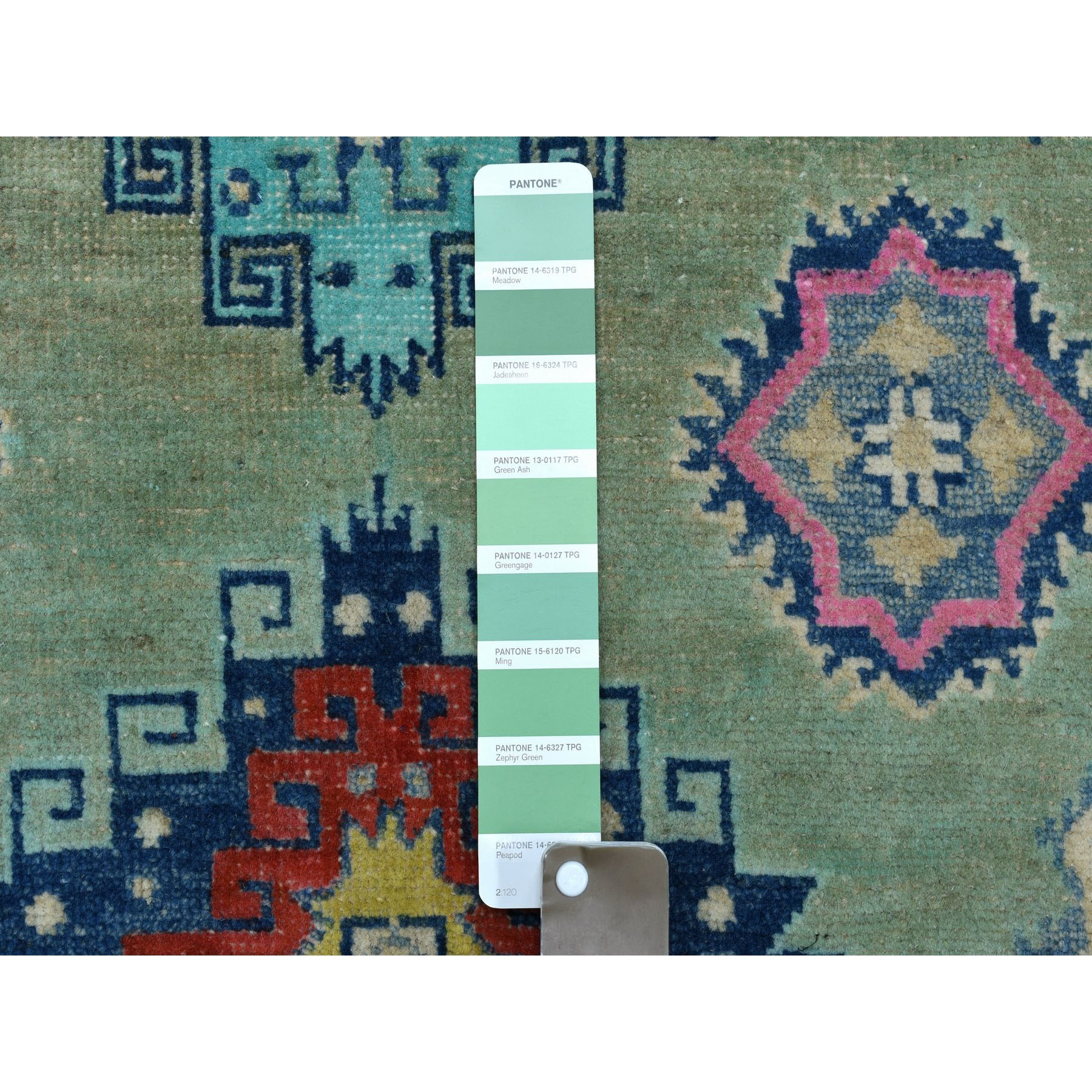 "3'5""x4'8"" Colorful Green Fusion Kazak Pure Wool Hand Woven Oriental Rug"