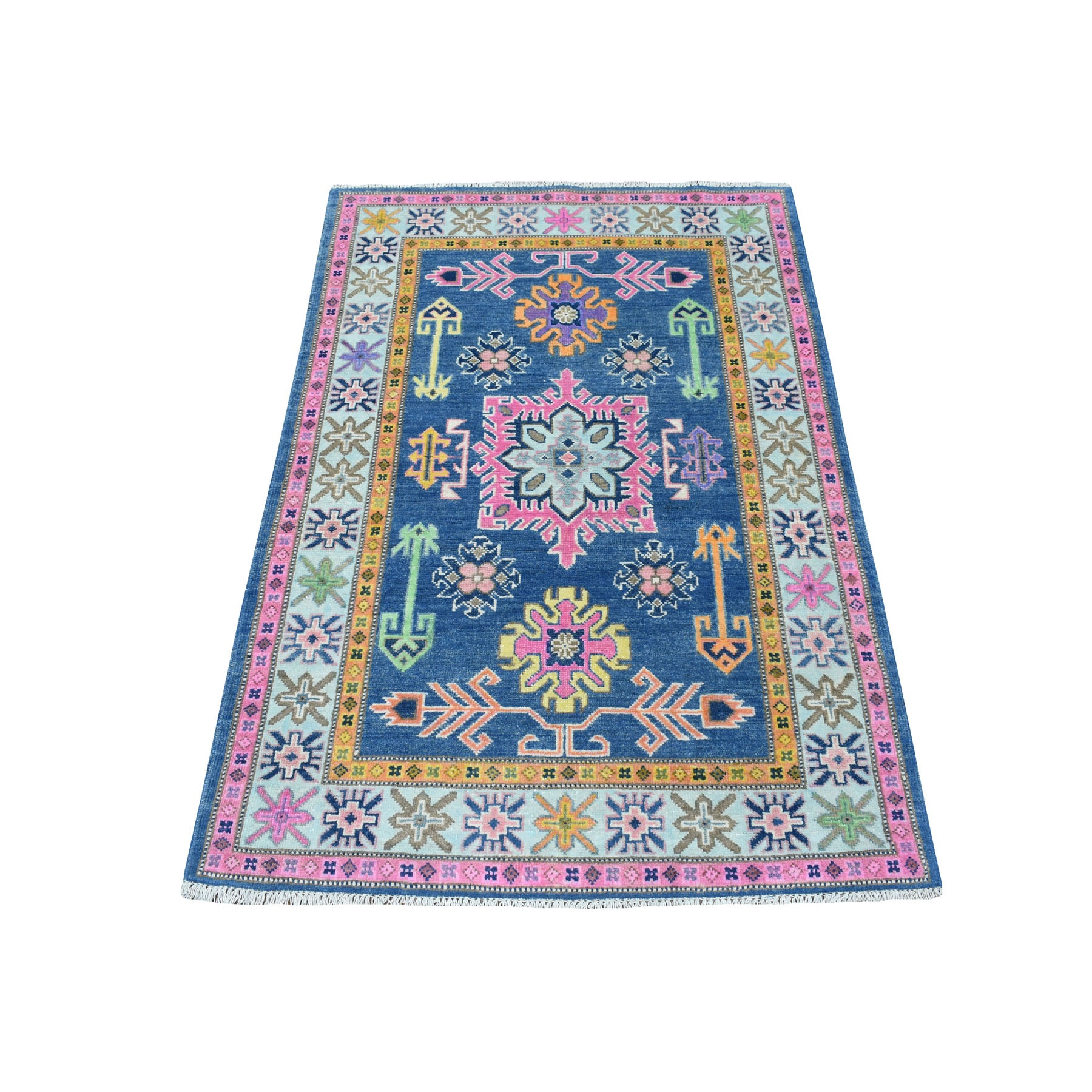 "3'2""x4'5"" Colorful Blue Fusion Kazak Pure Wool Geometric Design Hand Woven Oriental Rug"