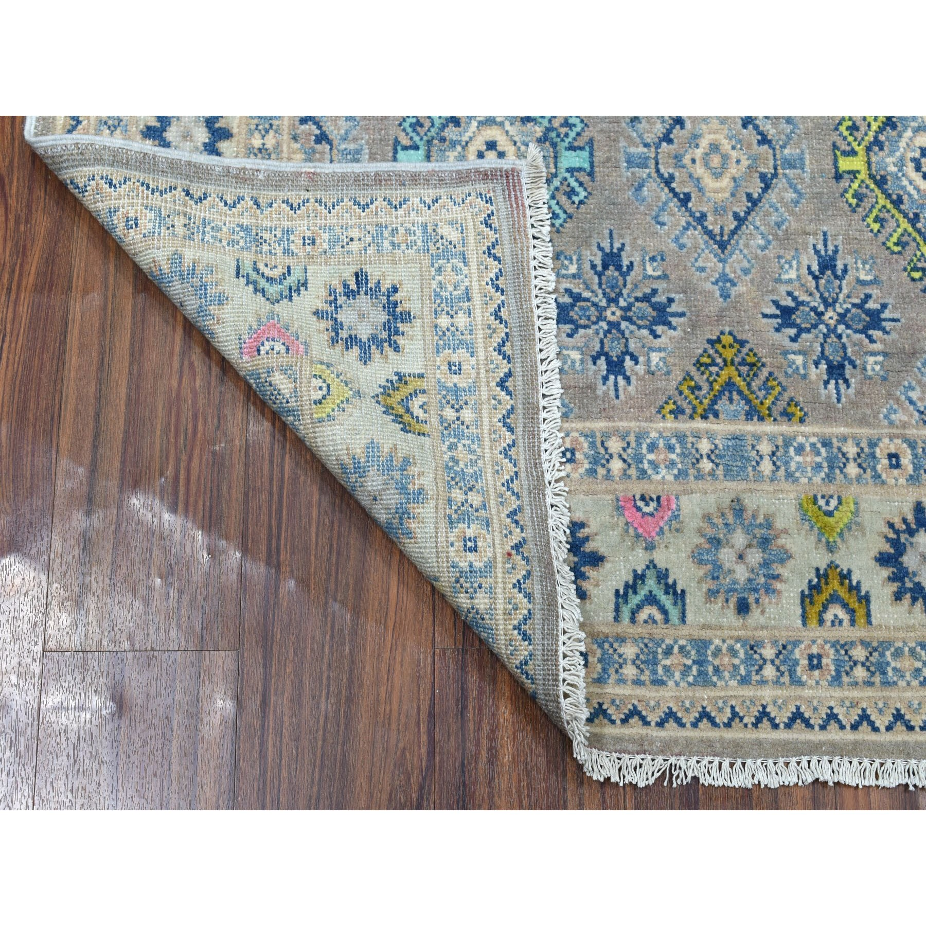 "3'9""x5'10"" Colorful Gray Fusion Kazak Pure Wool Geometric Design Hand Woven Oriental Rug"