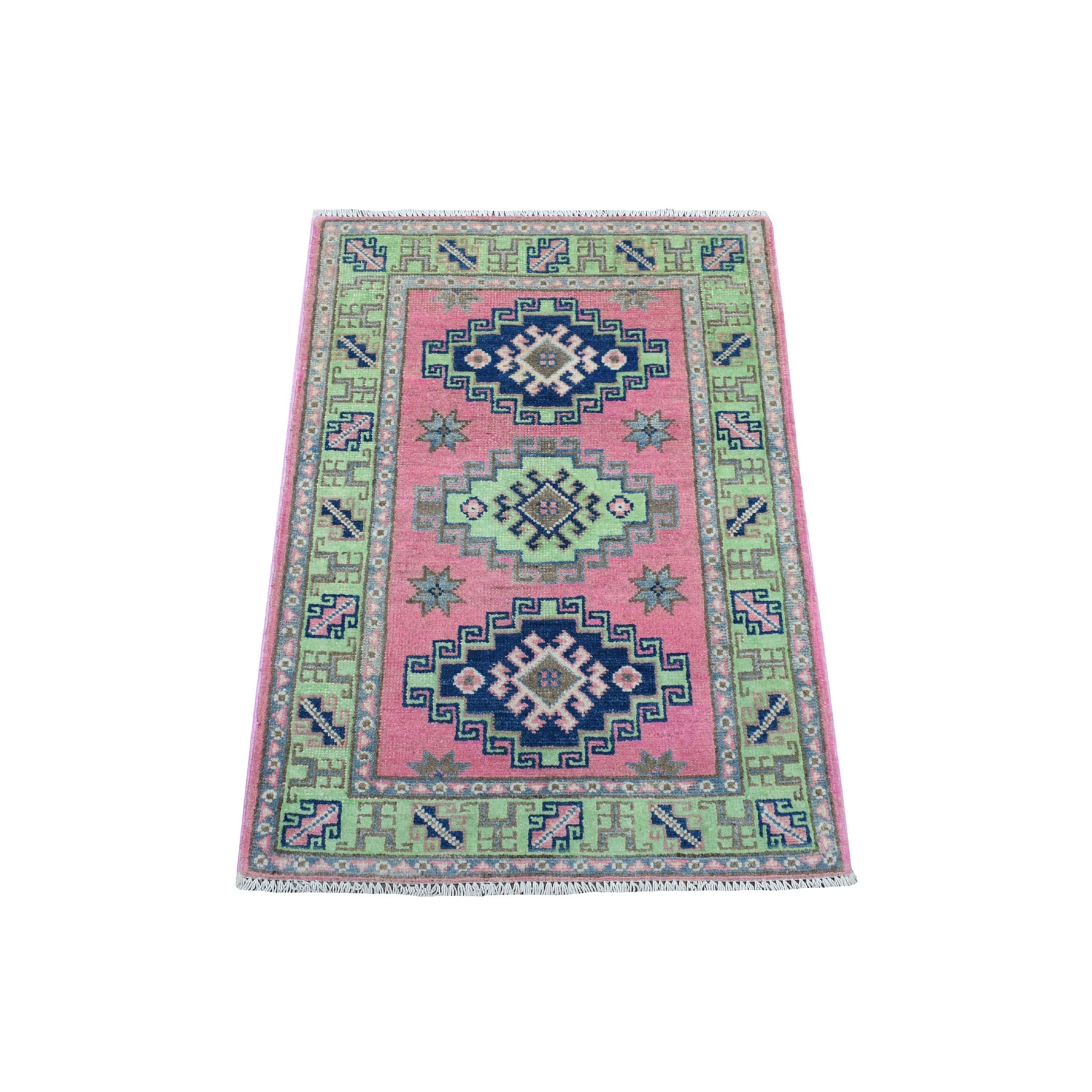 "2'x2'10"" Colorful Pink Fusion Kazak Pure Wool Geometric Design Hand Woven Oriental Rug"