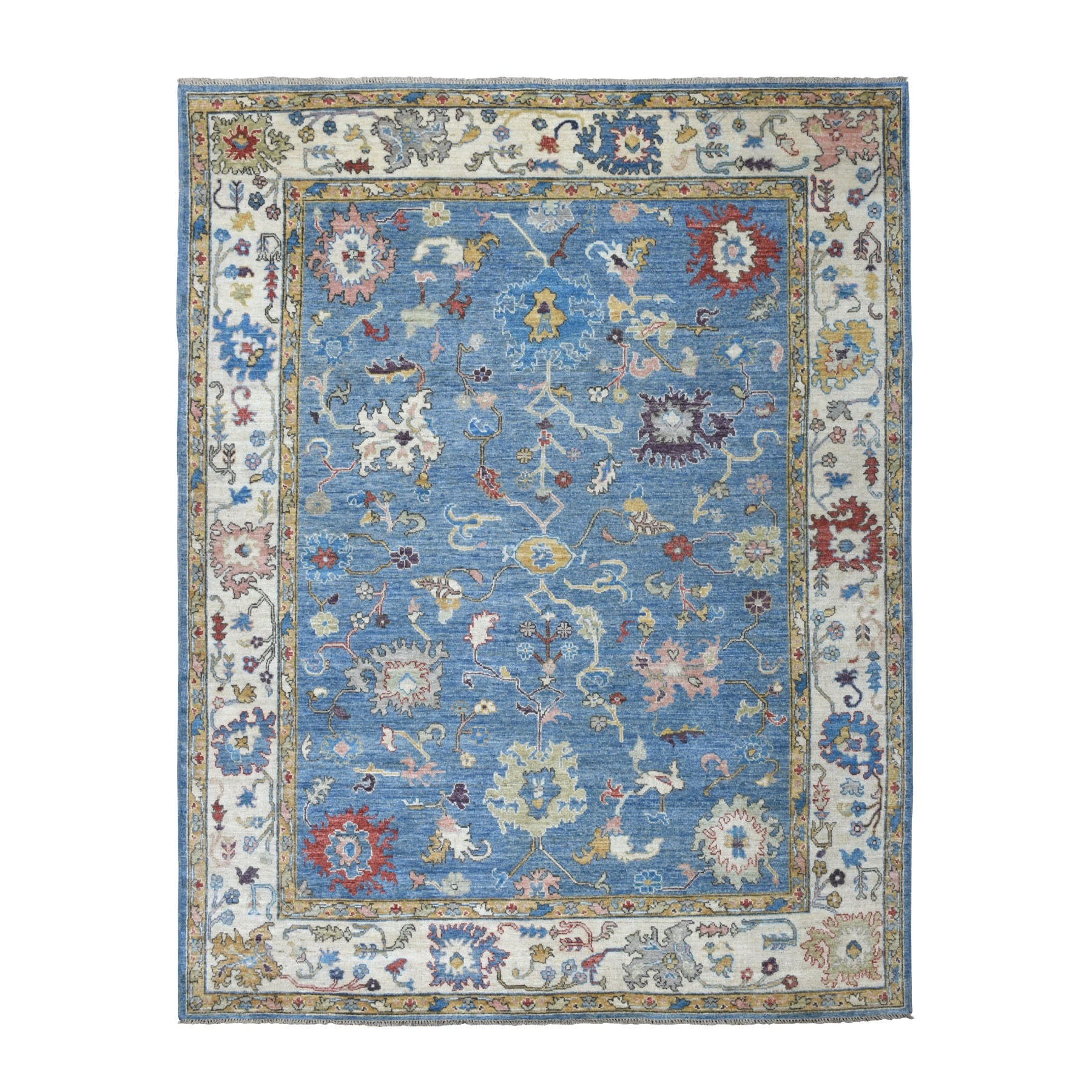 "7'10""x10'6"" Denim Blue Angora Oushak With Soft Velvety wool Hand Woven Oriental Rug"