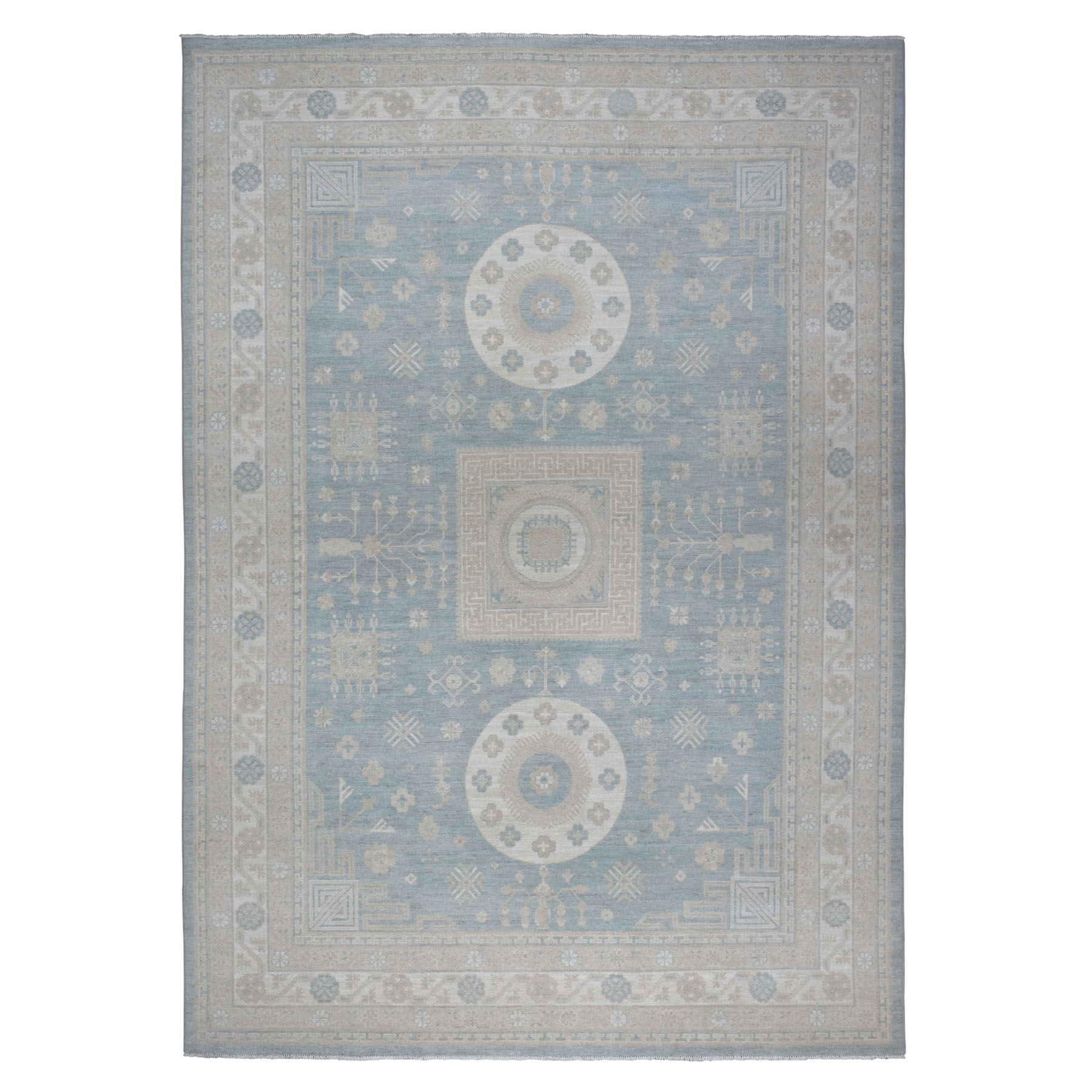 "10'x13'10"" Blue Peshawar with Khotan Design Pure Wool Hand Woven Oriental Rug"