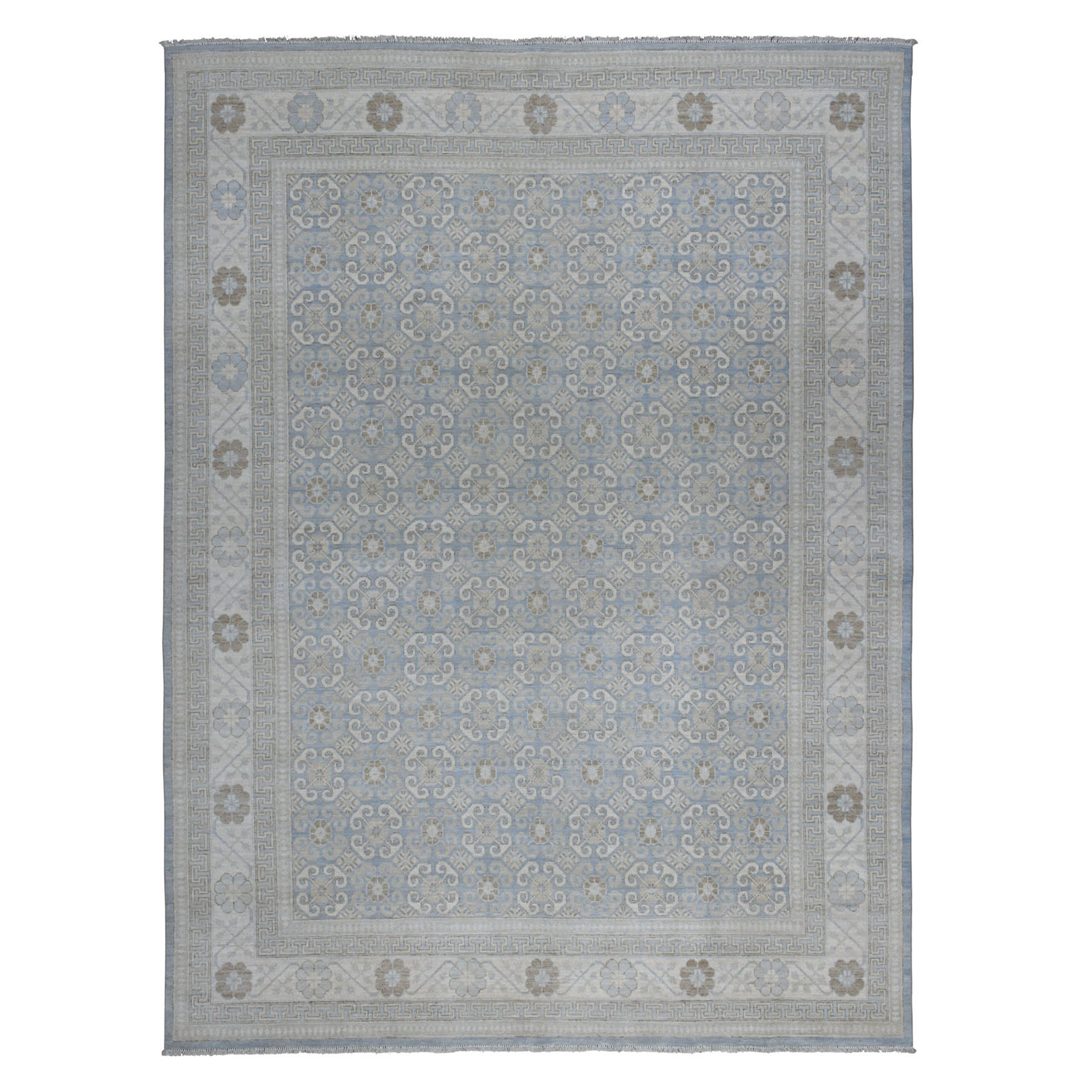 "8'10""x11'8"" Blue Stone Wash Peshawar with Khotan Design Pure Wool Hand Woven Oriental Rug"