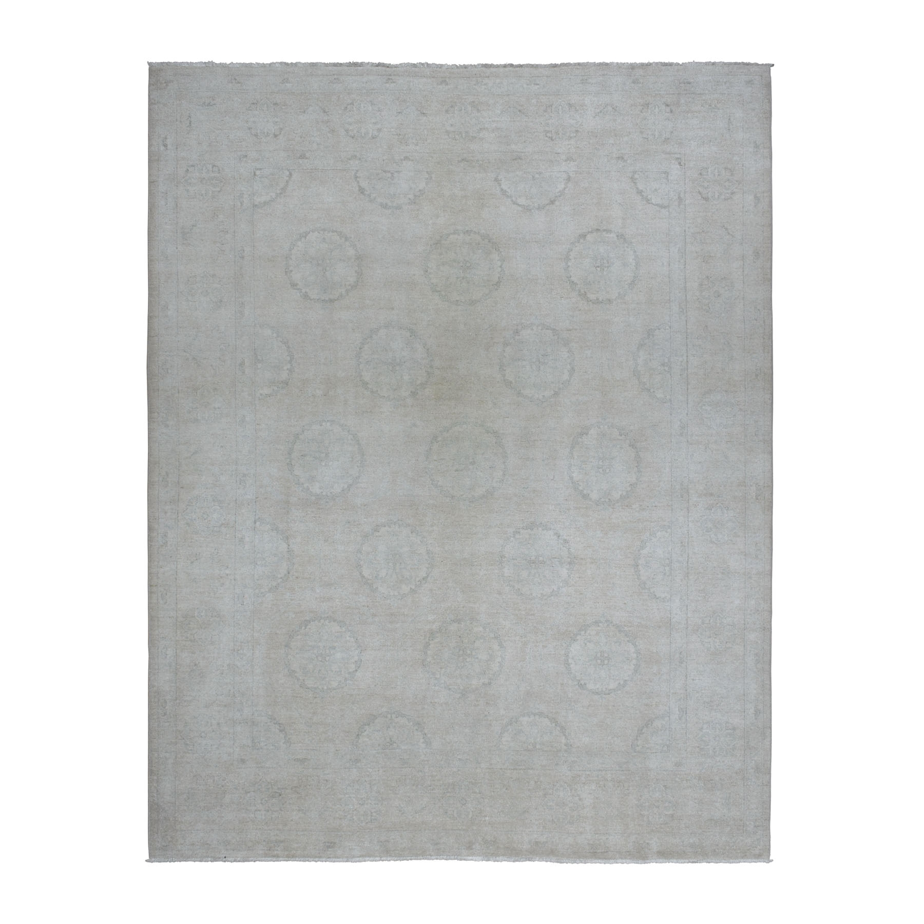 "8'x10'3"" White Peshawar with Khotan Design Pure Wool Hand Woven Oriental Rug"