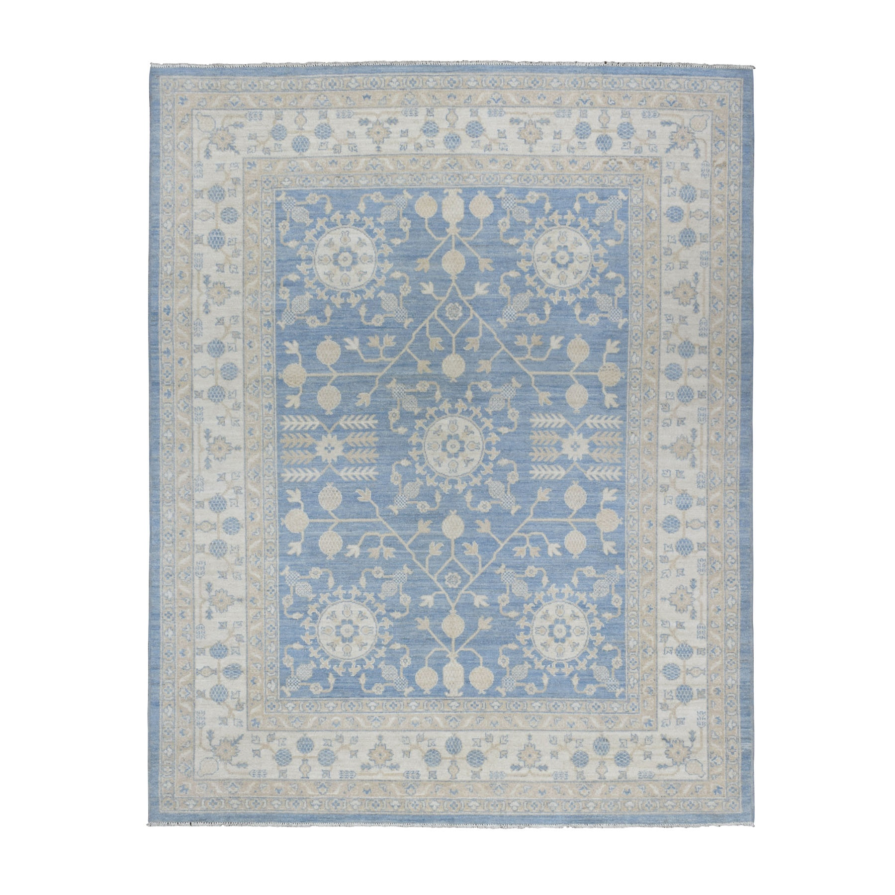 "8'x9'9"" Blue Stone Wash Peshawar with Khotan Design Pure Wool Hand Woven Oriental Rug"