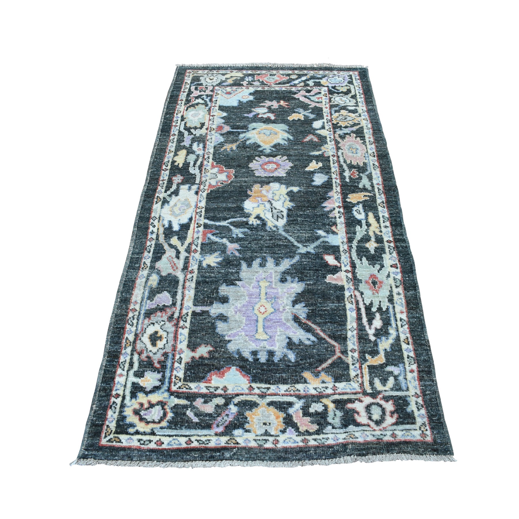 "3'x6'4"" Charcoal Gray Angora Oushak With Soft Wool Runner Hand Woven Oriental Rug"