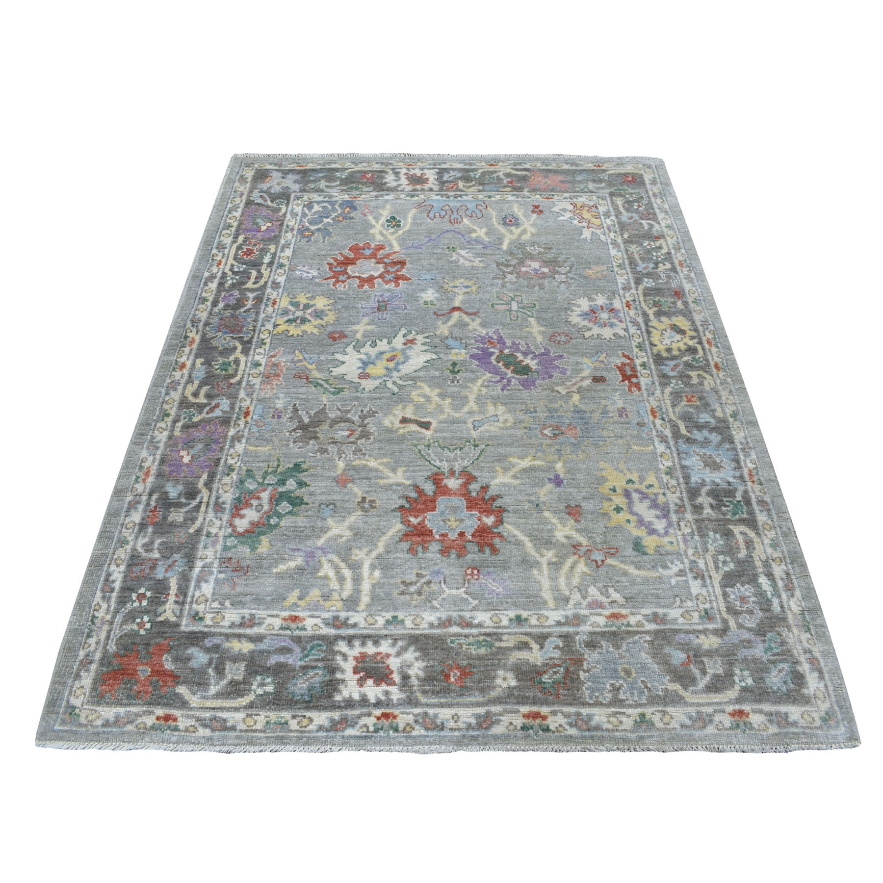 "5'x6'8"" Gray Angora Oushak With Soft Wool Hand Woven Oriental Rug"