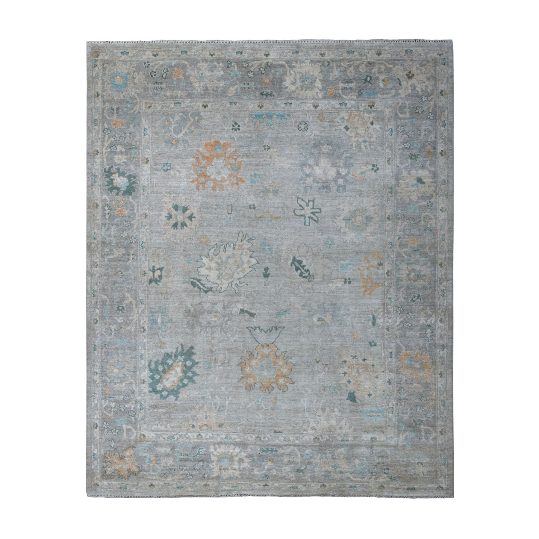"8'1""x10' Gray Angora Oushak With Soft Wool Hand Woven Oriental Rug"