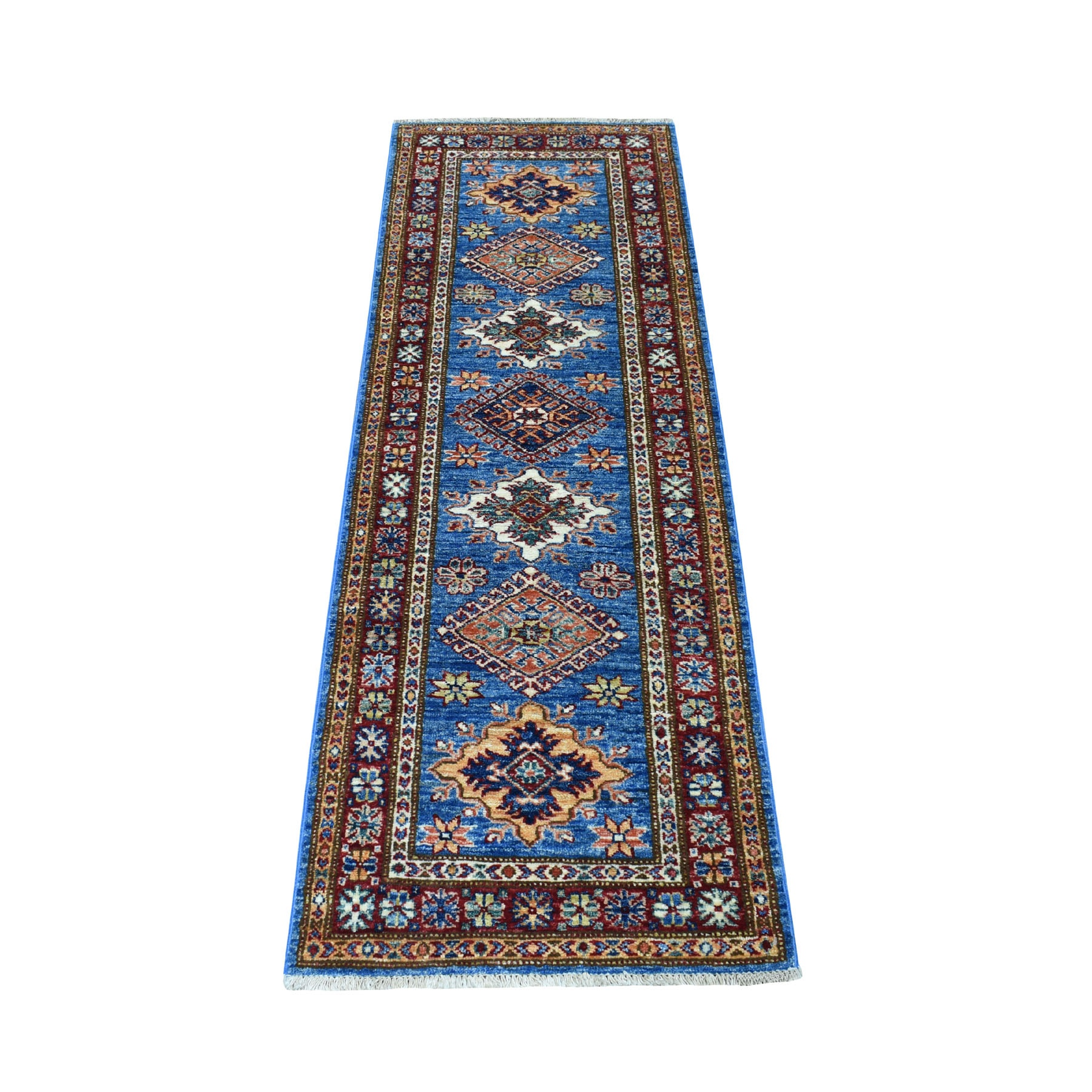 "2'x5'9"" Blue Super Kazak Tribal Design Afghan Wool Narrow Runner Hand Woven Oriental Rug"