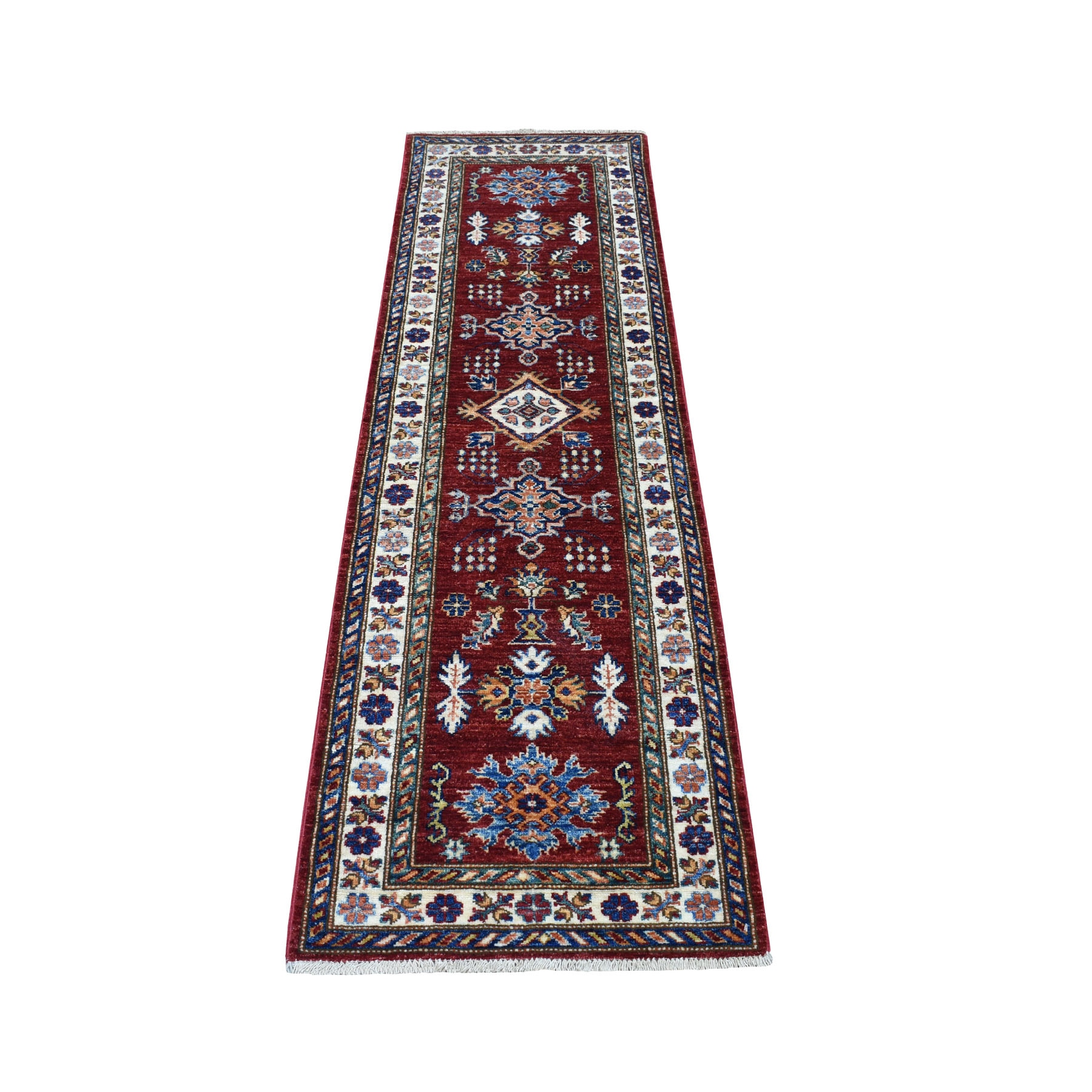 "2'x6'4"" Red Super Kazak Organic Wool Narrow Runner Hand Woven Oriental Rug"