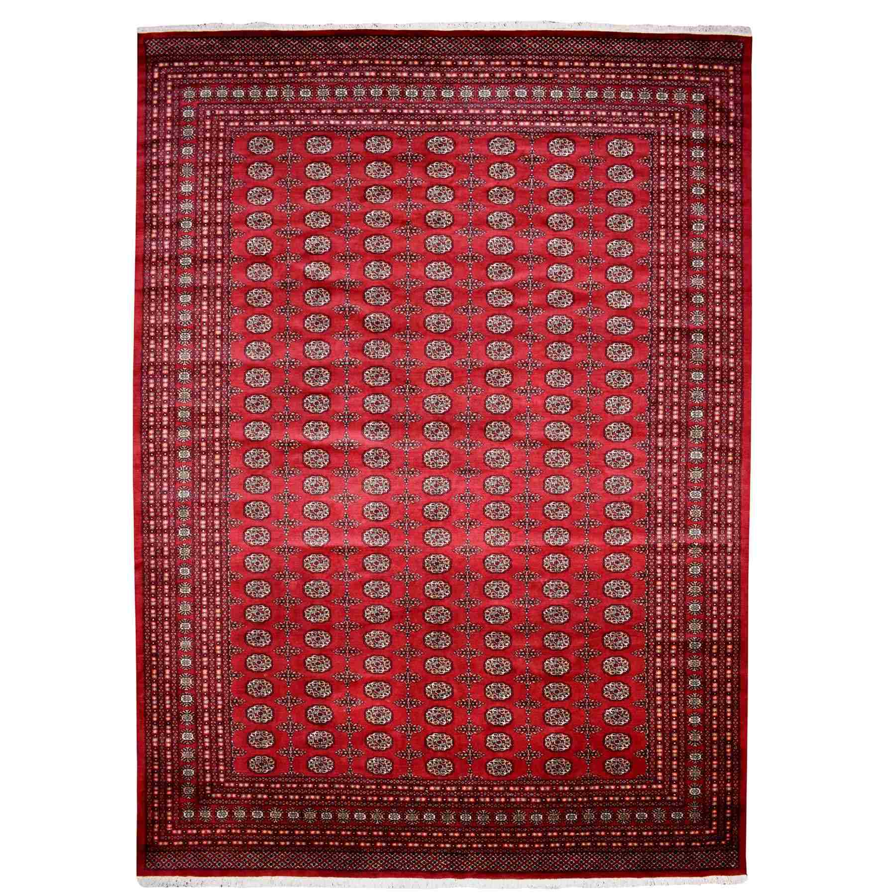 "10'x14'7"" Red Mori Bokara Elephant Feet Design Pure Wool Hand Woven Oriental Rug"