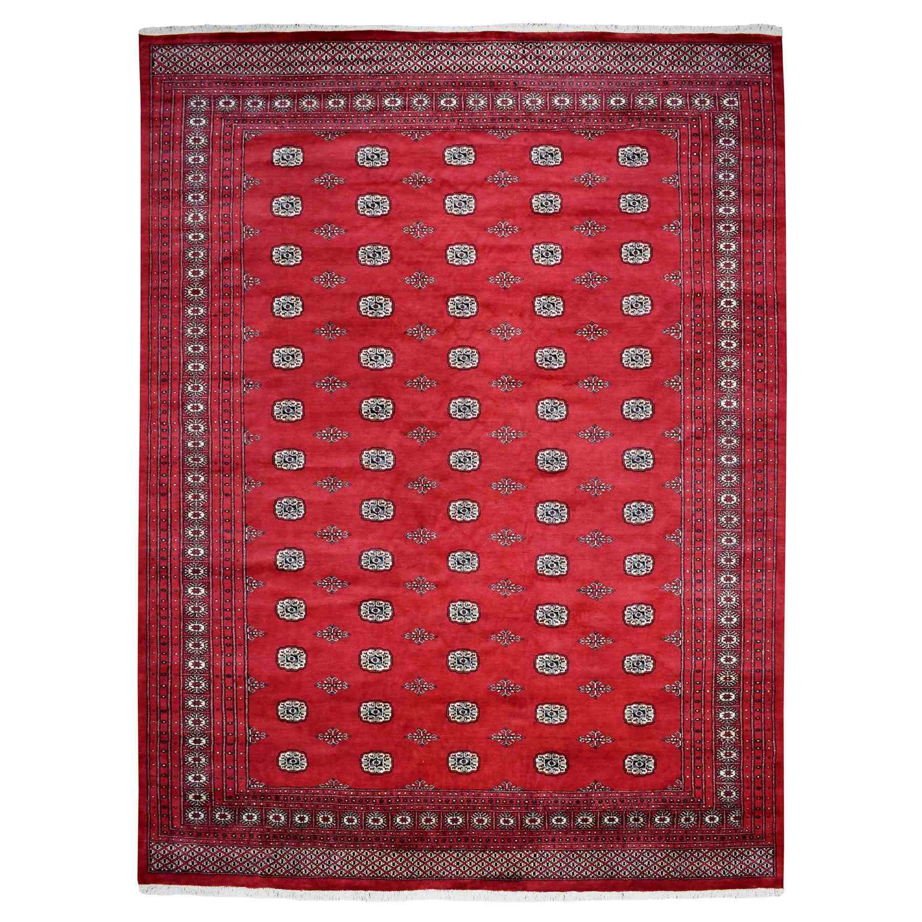 "10'3""x13'4"" Red Elephant Feet Design Mori Bokara Pure Wool Hand Woven Oriental Rug"