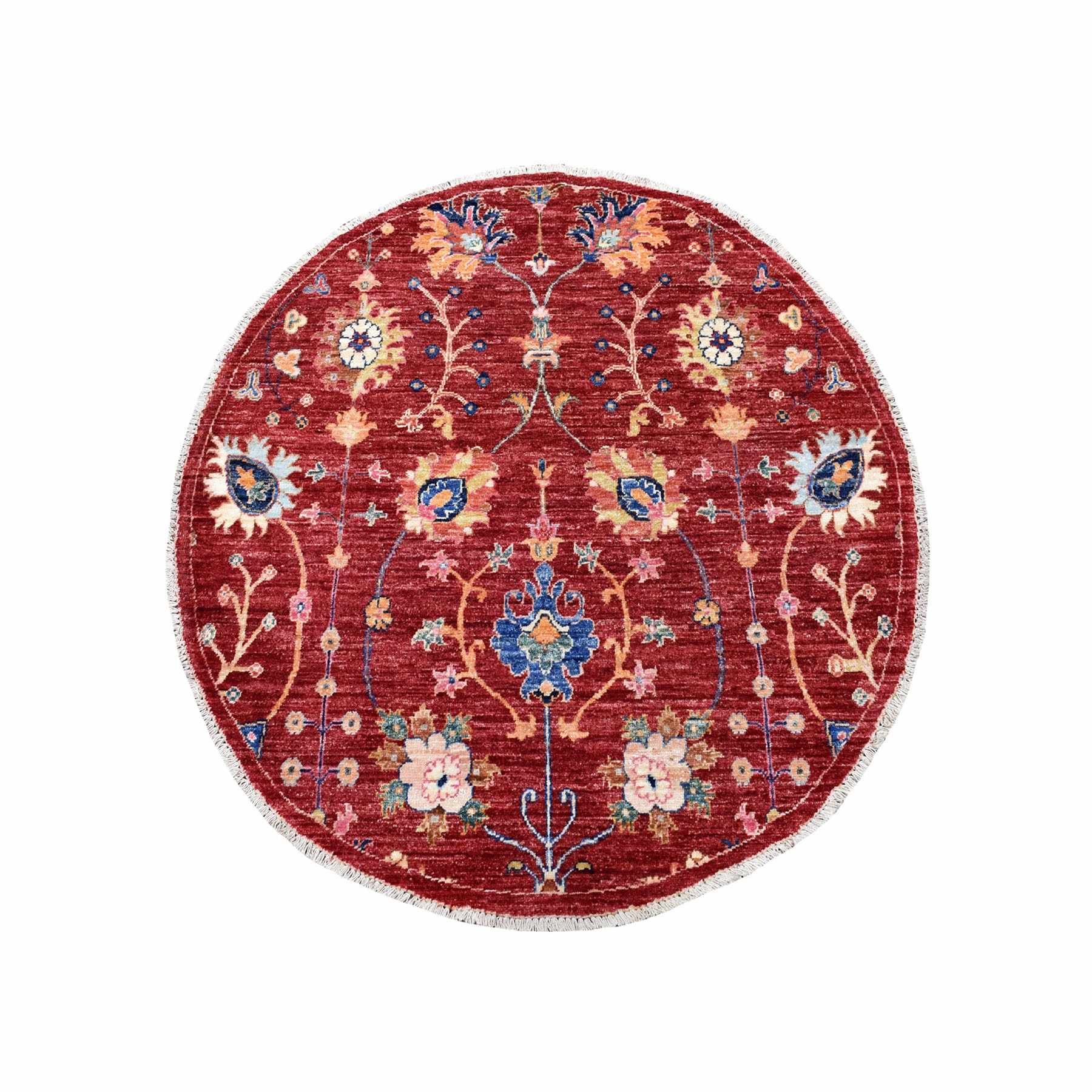 "3'9""x3'9"" Colorful Round Peshawar Natural Wool Hand Woven Oriental Rug"