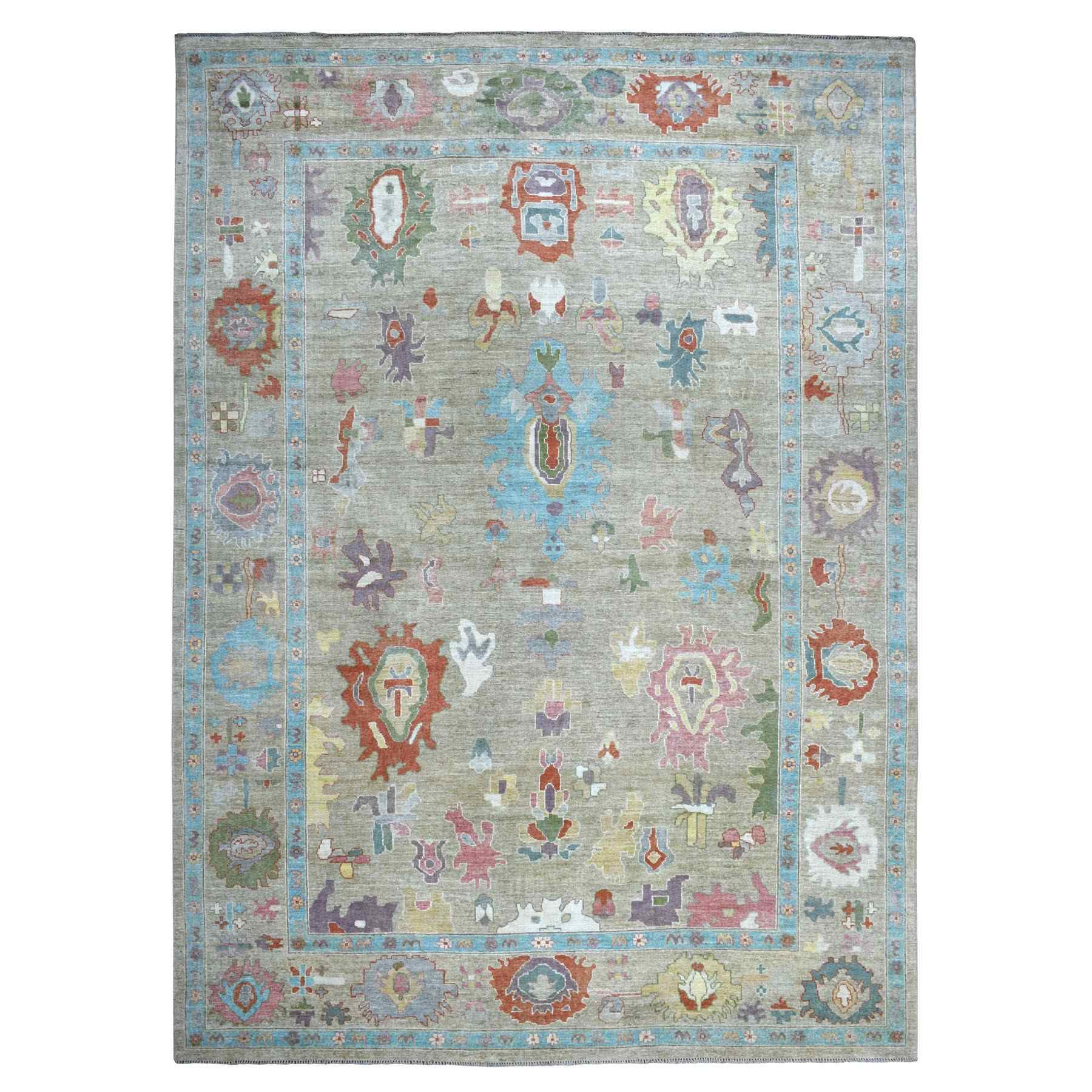 "10'x13'10"" Angora Oushak With Soft Velvety Wool Hand Woven Oriental Rug"