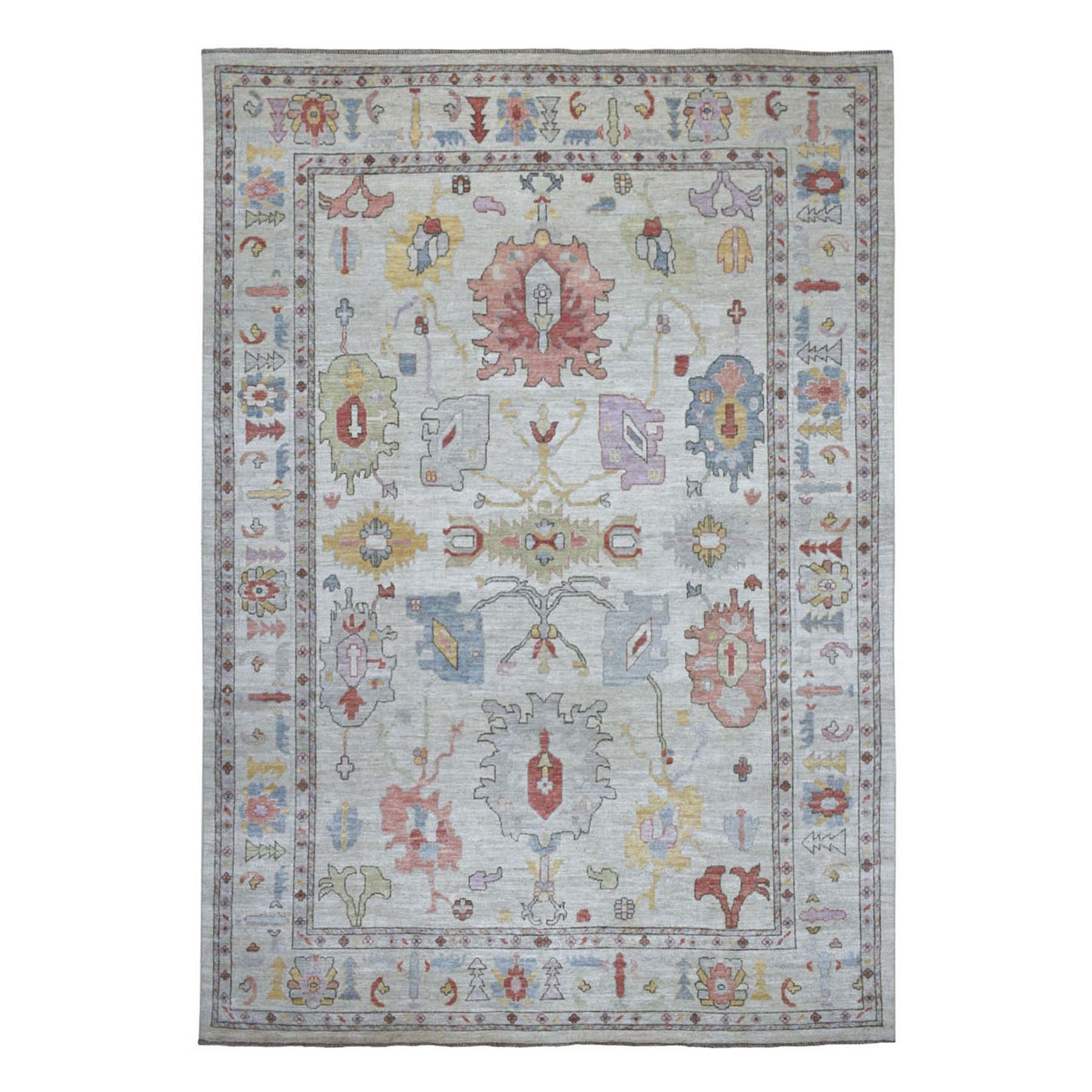 "9'7""x13'6"" Ivory Washed Out Angora Oushak, Soft to the Touch Wool Pile Hand Woven Oriental Rug"