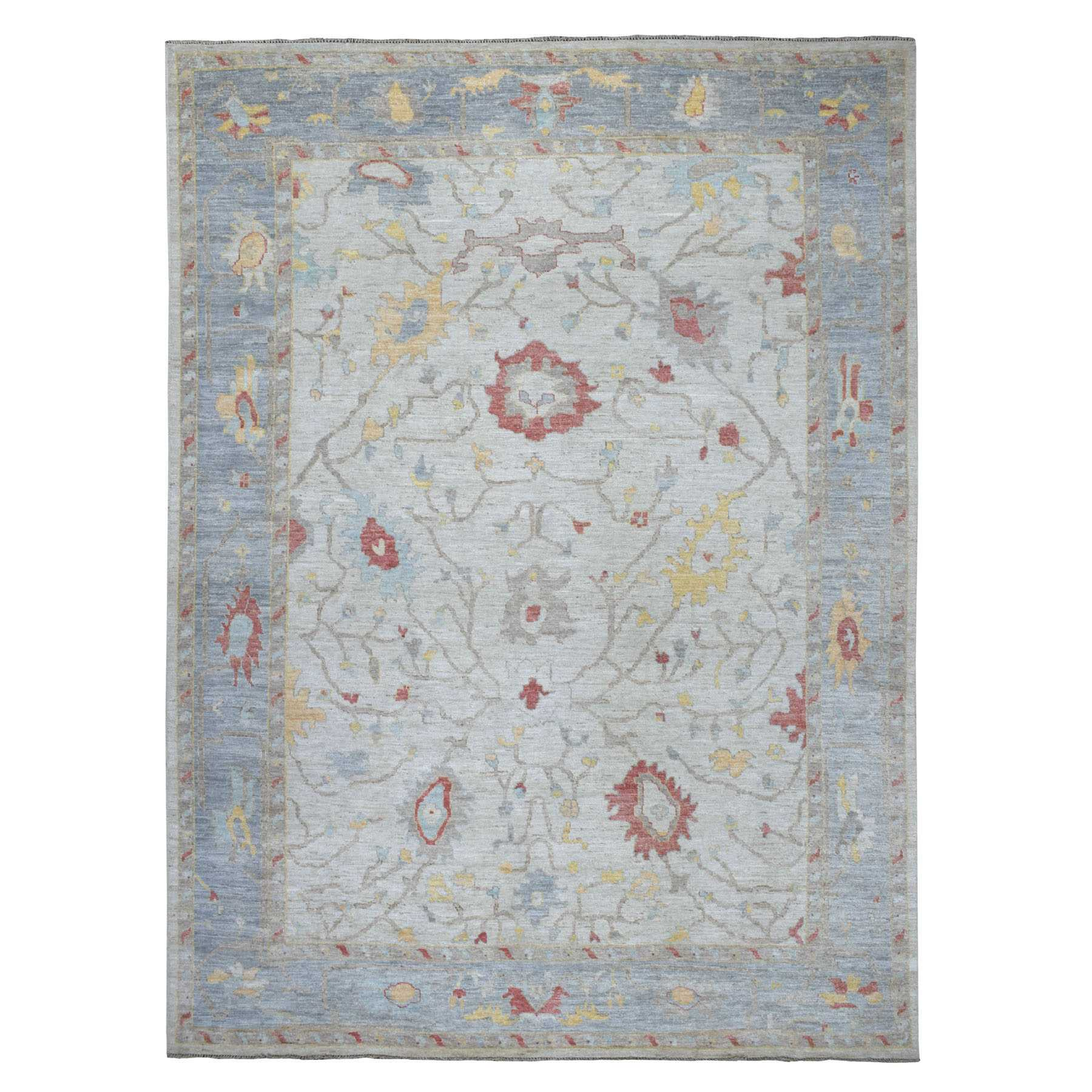 "9'9""x13' Ivory Angora Oushak With Soft Velvety Wool Hand Woven Oriental Rug"