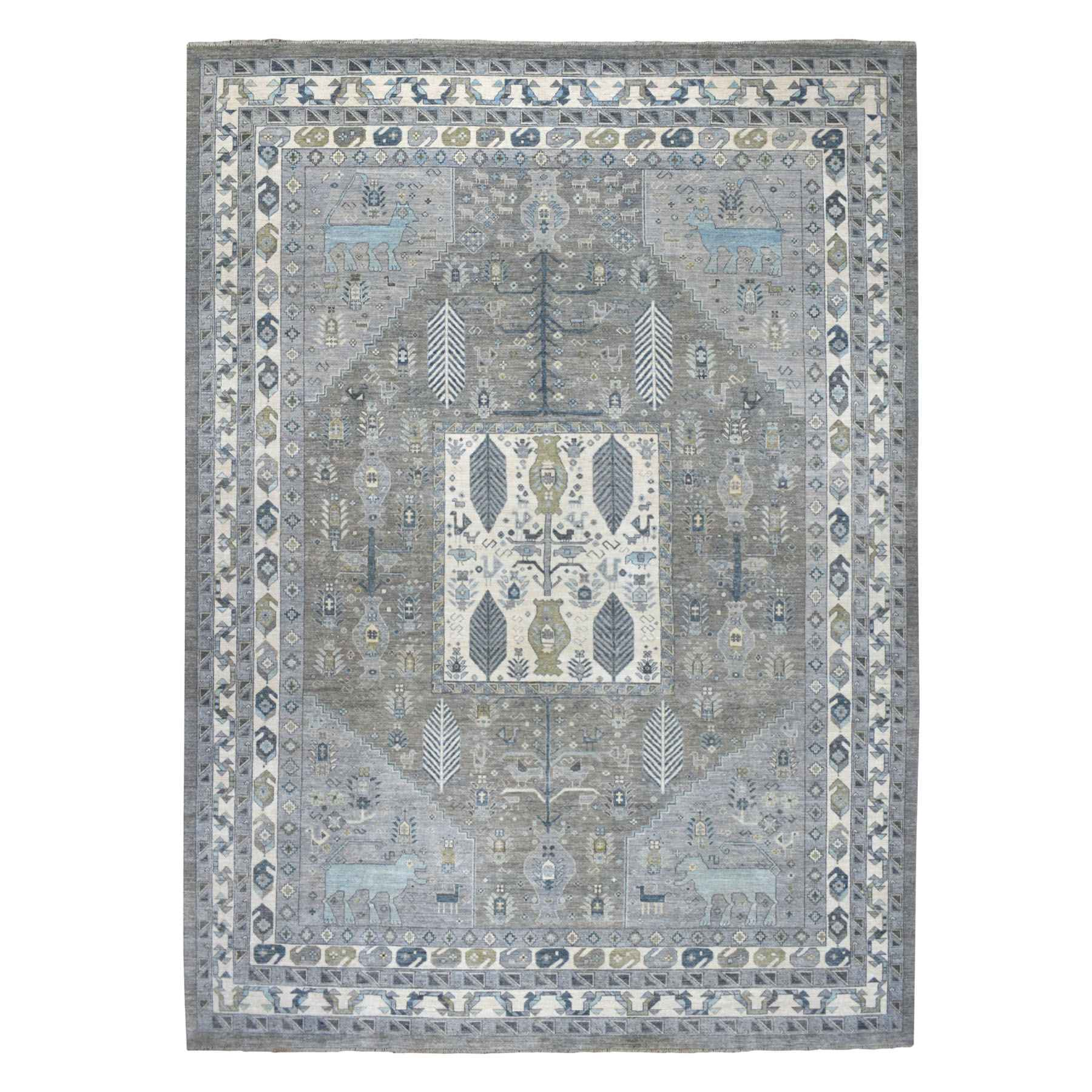 "10'x13'5"" Gray Ancient Animal Motifs Design With Peshawar Pure Wool Hand Woven Oriental Rug"