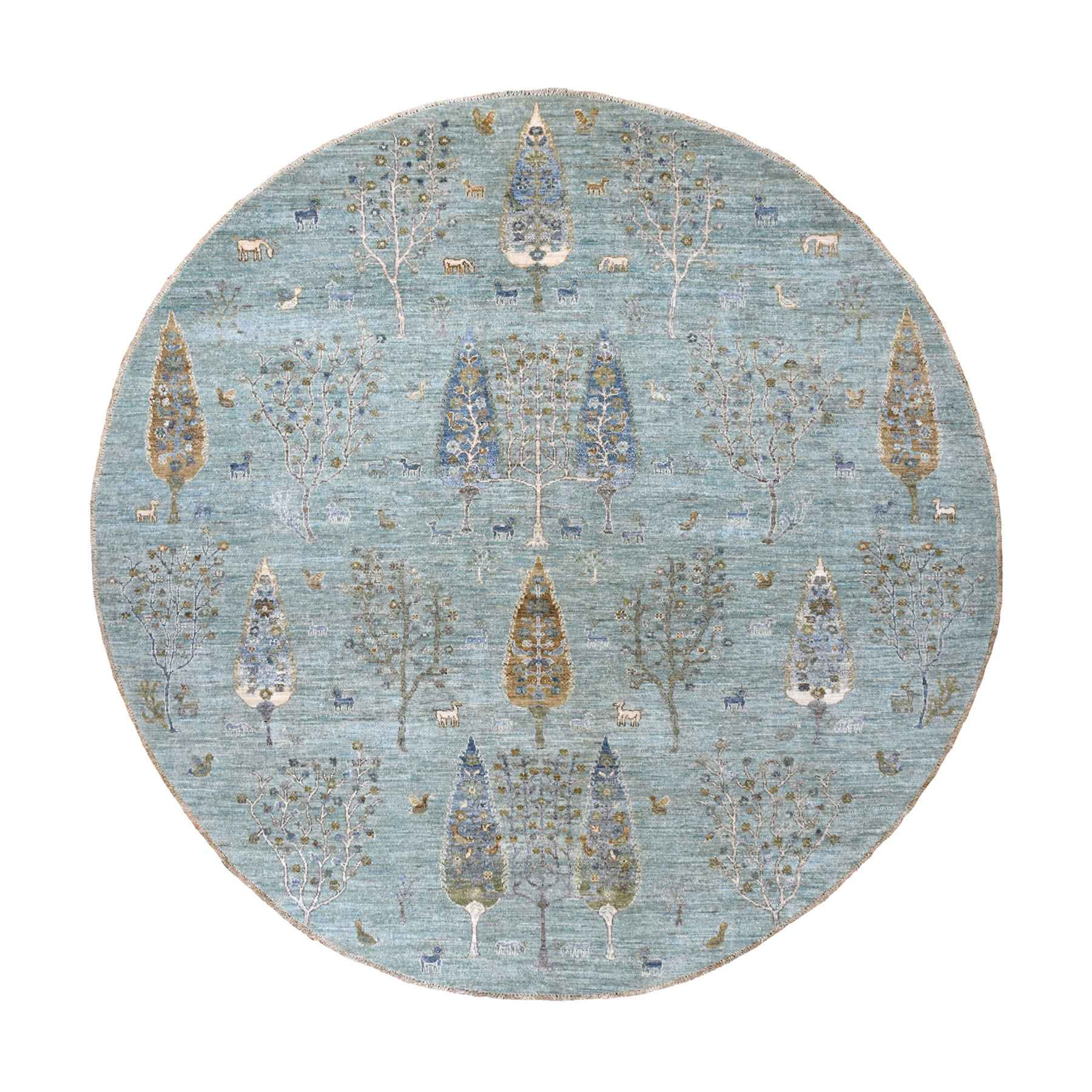 8'x8' Aqua Folk Art Willow And Cypress Tree Design Round Peshawar With Pop Of Color Hand Woven Oriental Rug