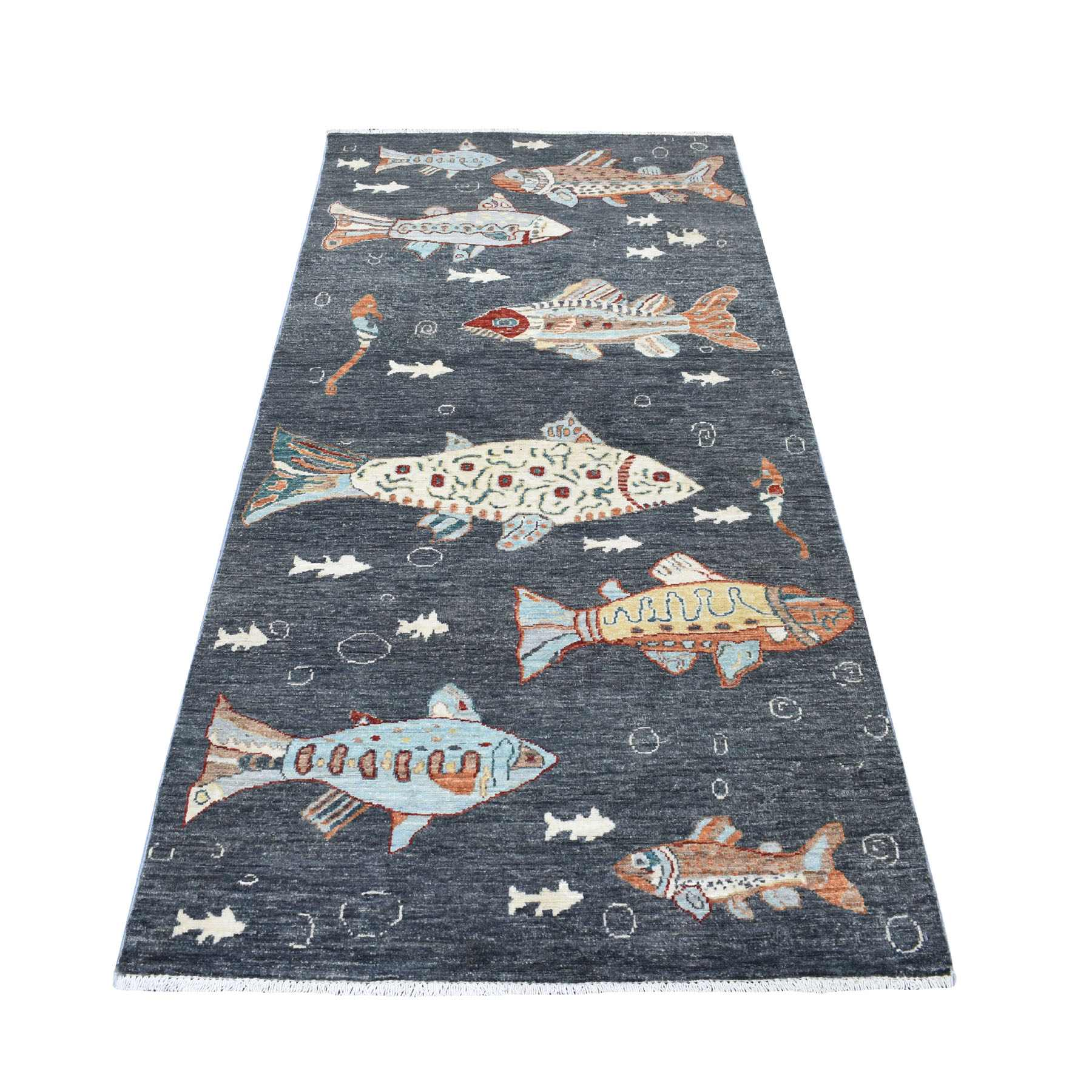 "3'7""x7'1"" Charcoal Black Oceanic Fish Design Afghan Peshawar Pure Wool Wide Runner Hand Woven Oriental Rug"