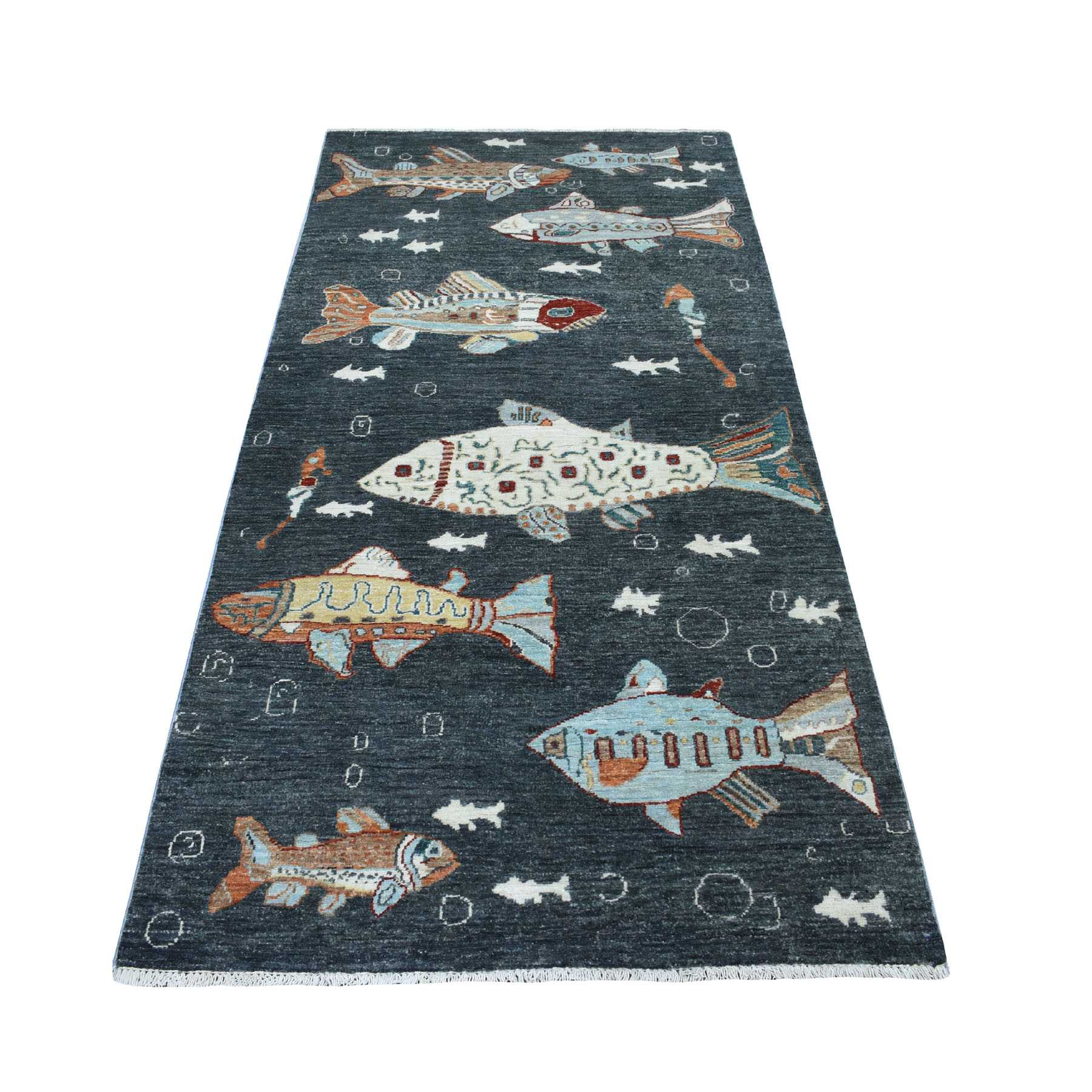 "3'7""x7'1"" Charcoal Black Oceanic Fish Design Peshawar Natural Wool Wide Runner Hand Woven Oriental Rug"