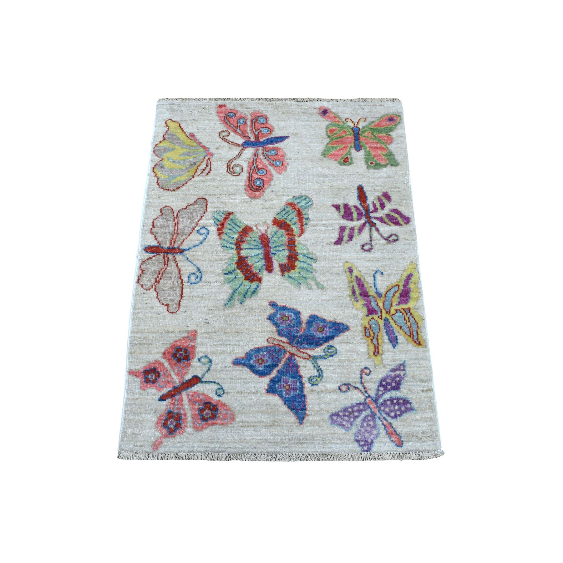 "2'x3'1"" Peshawar With Colorful Butterflies Design Organic Wool Hand Woven Oriental Rug"